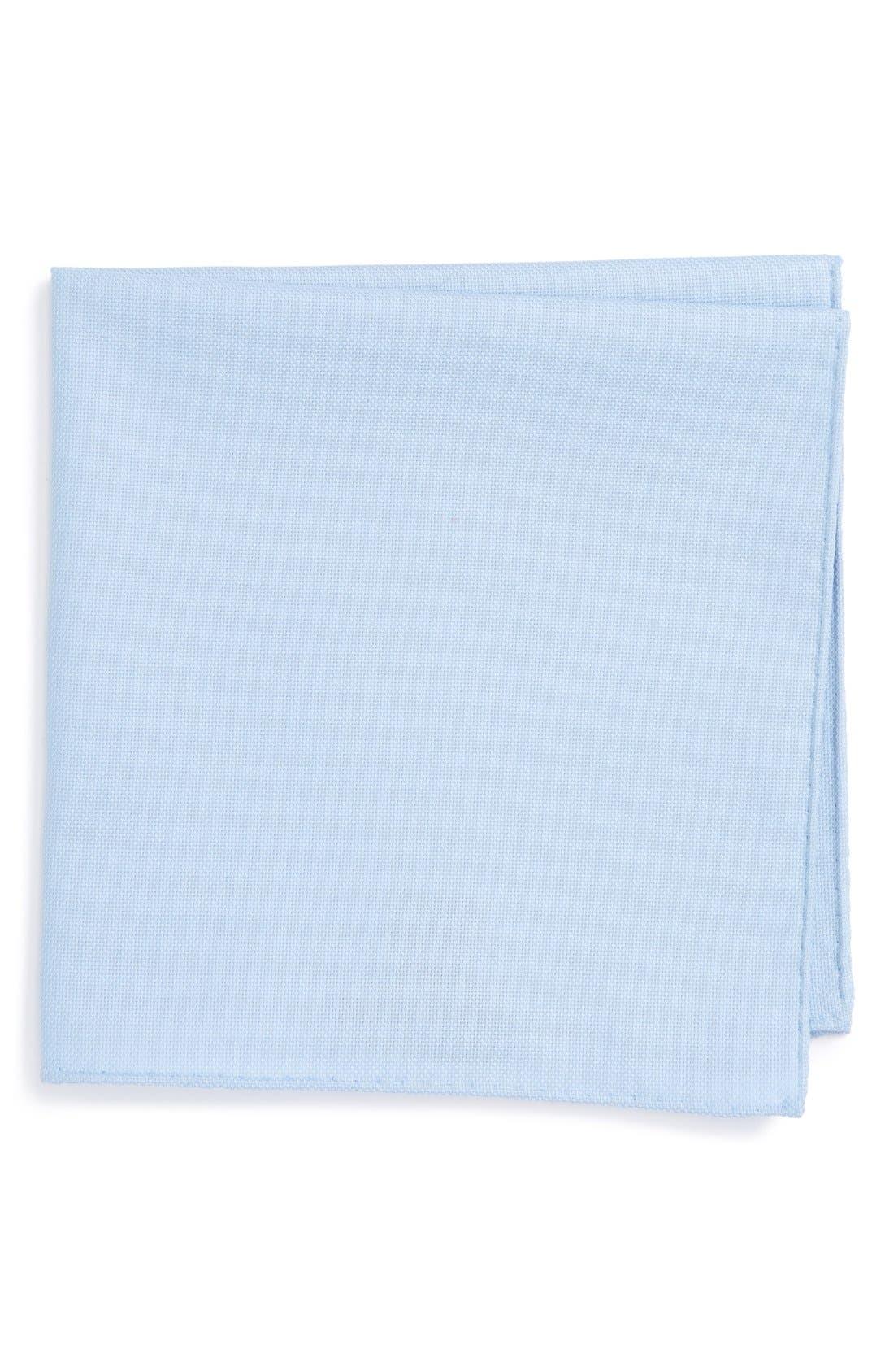 Solid Cotton Pocket Square,                         Main,                         color, Blue