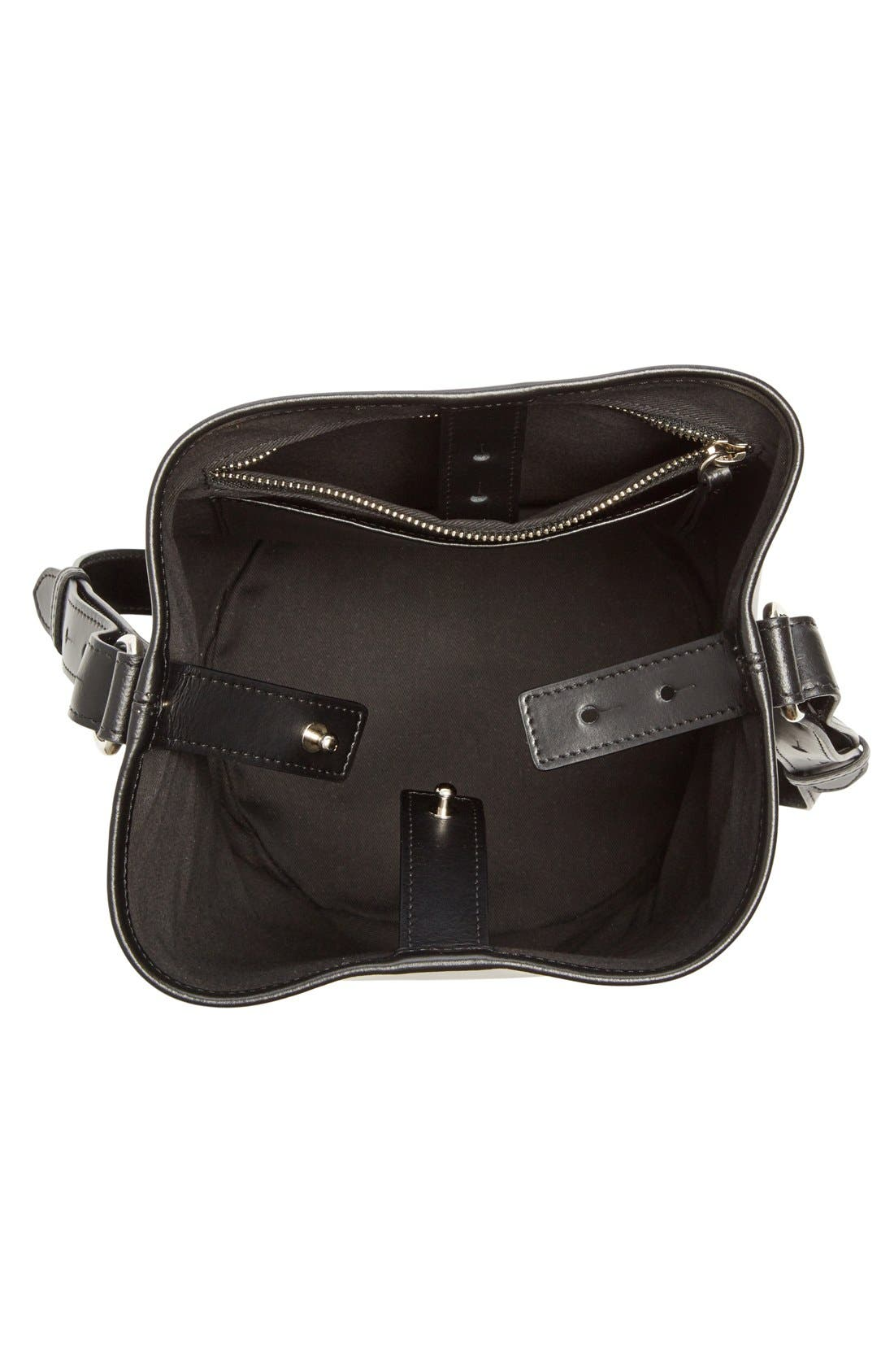 Small Leather Bucket Bag,                             Alternate thumbnail 3, color,                             Black