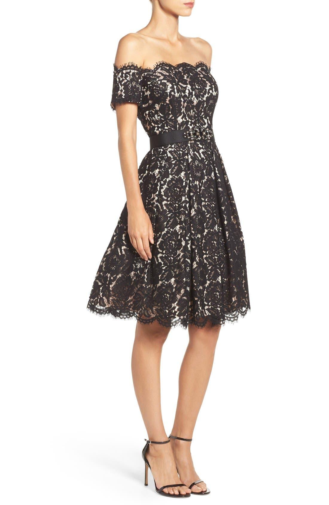 Alternate Image 3  - Eliza J Embellished Lace Fit & Flare Dress (Regular & Petite)