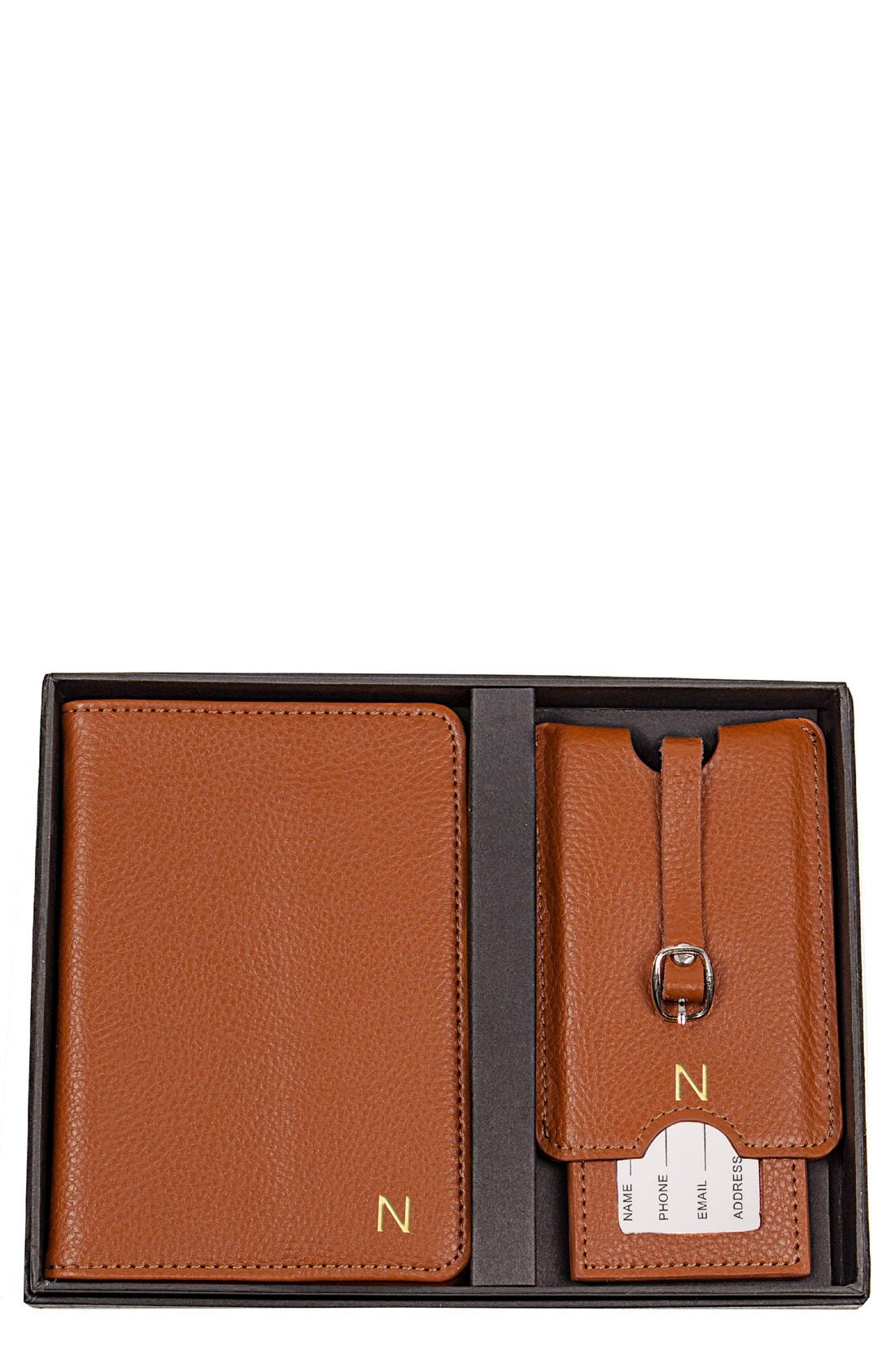 Main Image - Cathy's Concepts Monogram Passport Case & Luggage Tag