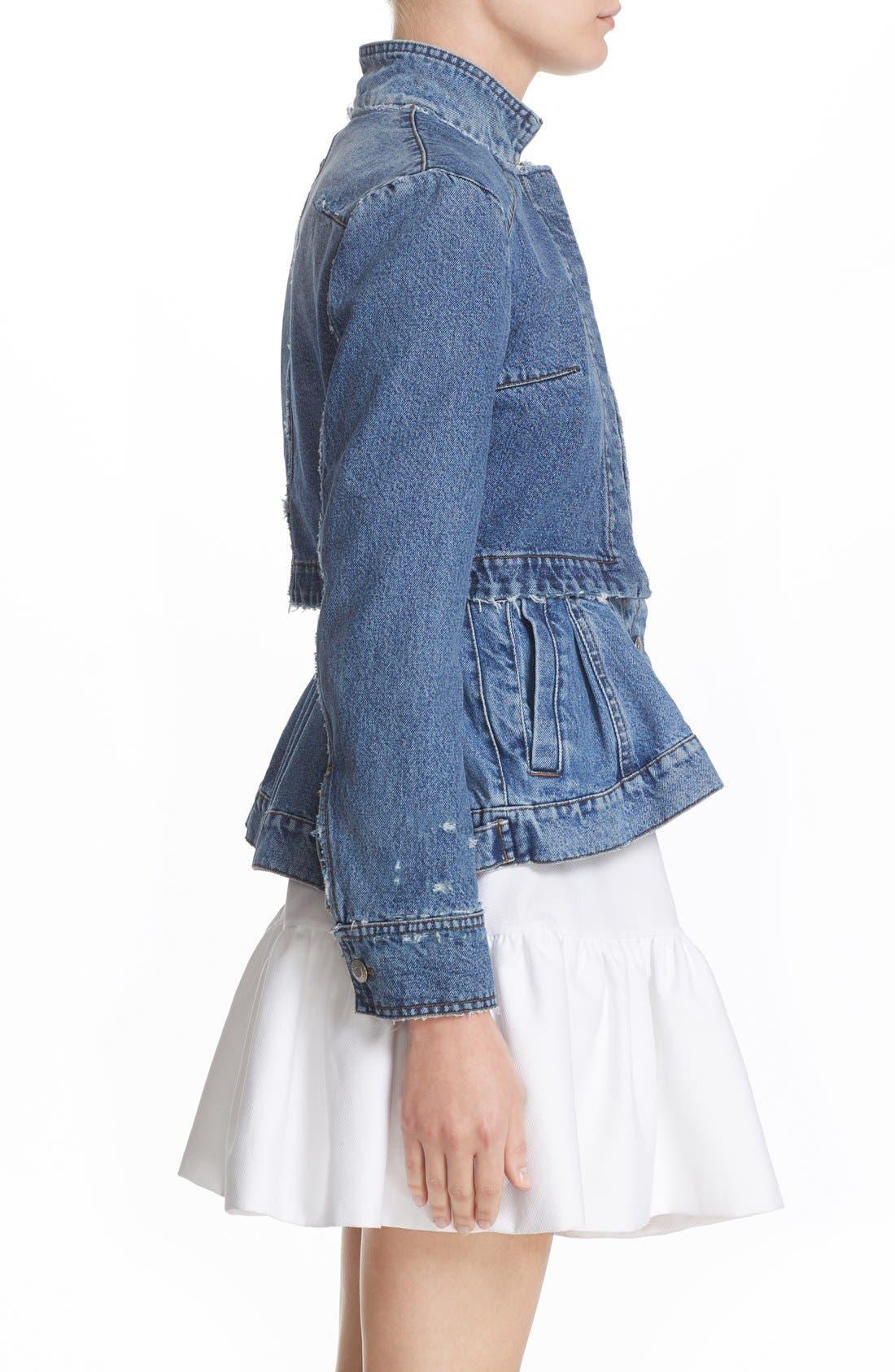 Alternate Image 4  - Alexander McQueen Peplum Denim Jacket