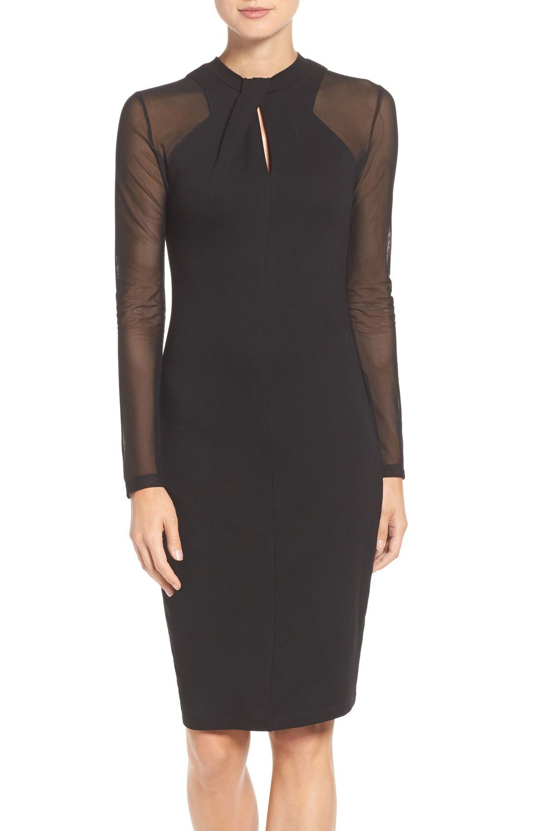 'Tania Tuck' Mesh Sleeve Sheath Dress,                             Main thumbnail 1, color,                             Black