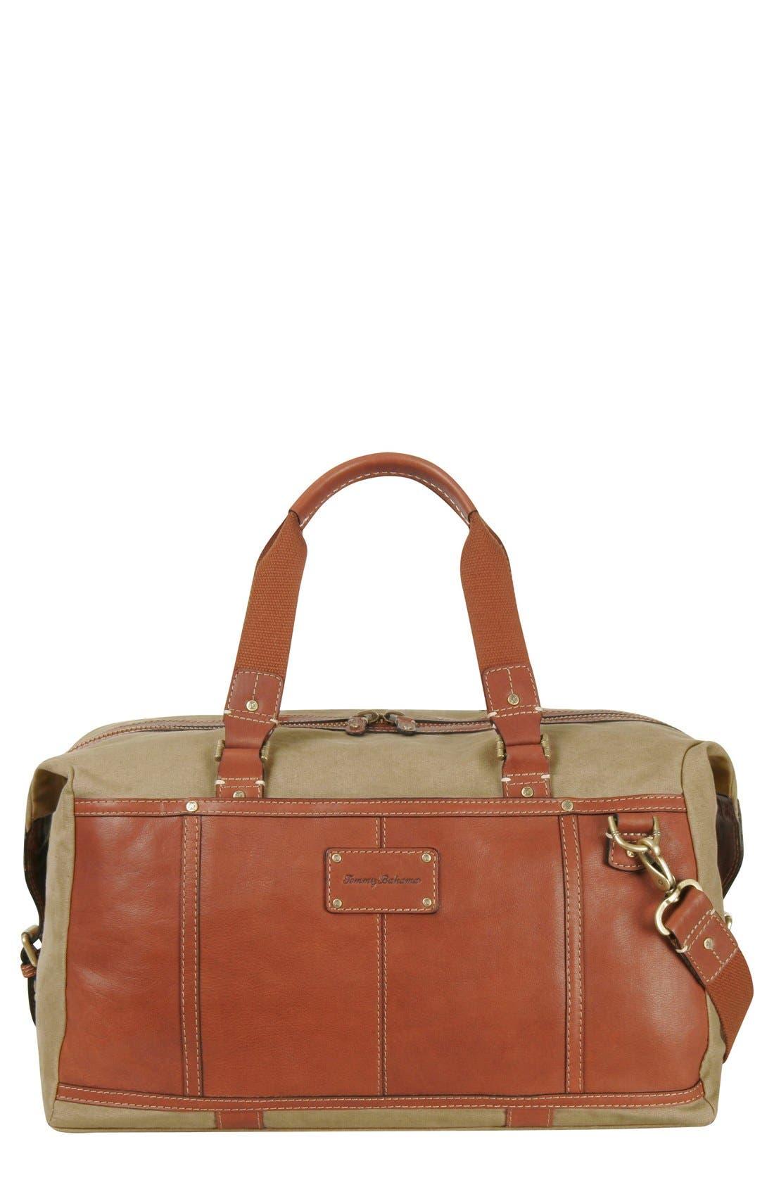 Tommy Bahama Canvas & Leather Duffel Bag
