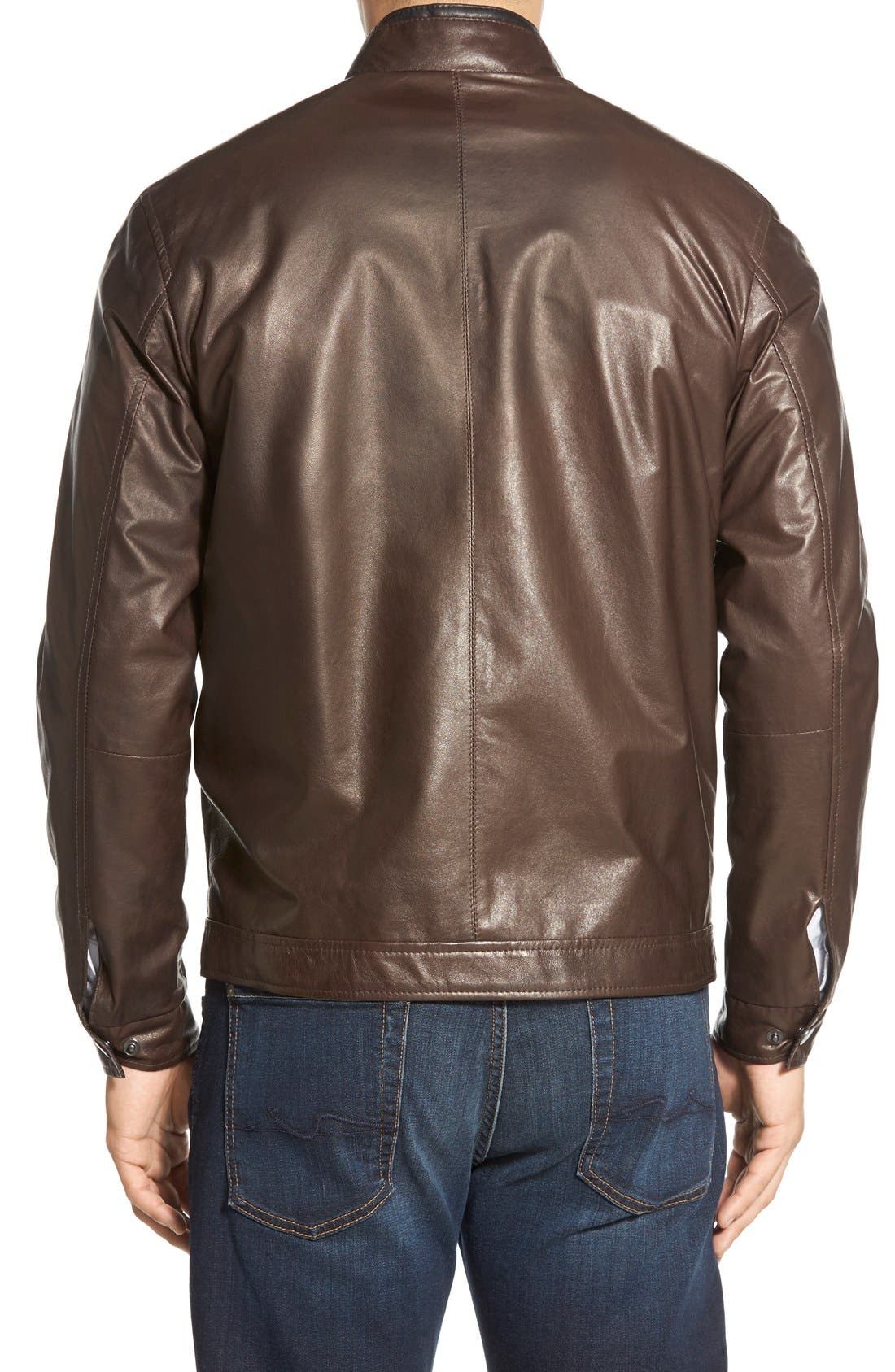 Lambskin Leather Jacket,                             Alternate thumbnail 2, color,                             Coffee