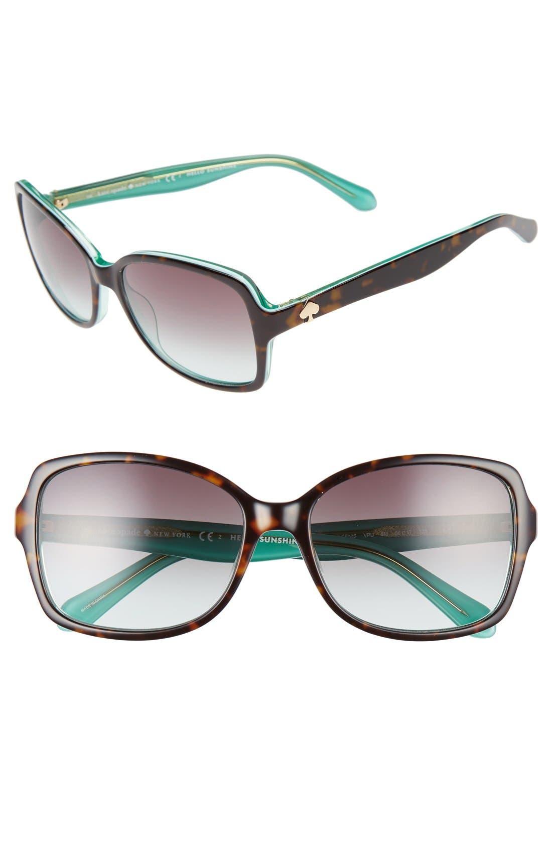 'ayleens' 56mm sunglasses,                         Main,                         color, Havana/ Green