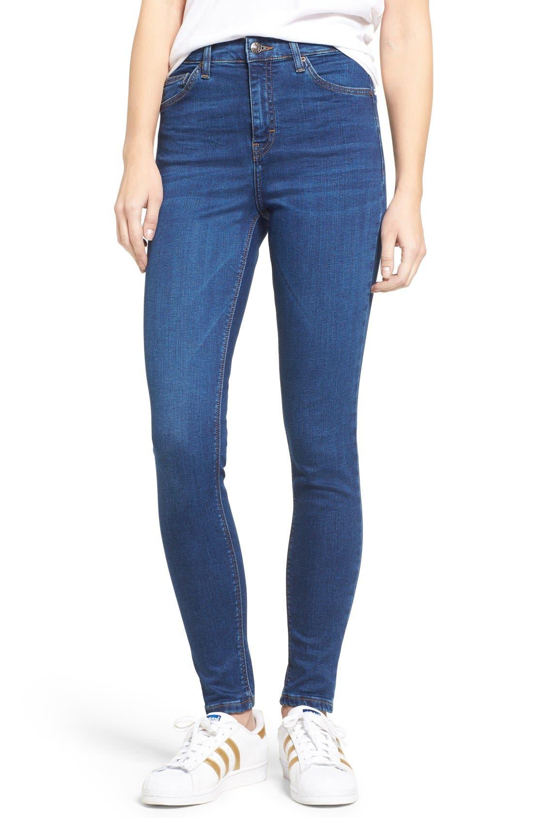 Jamie High Waist Ankle Skinny Jeans,                         Main,                         color, Navy Blue