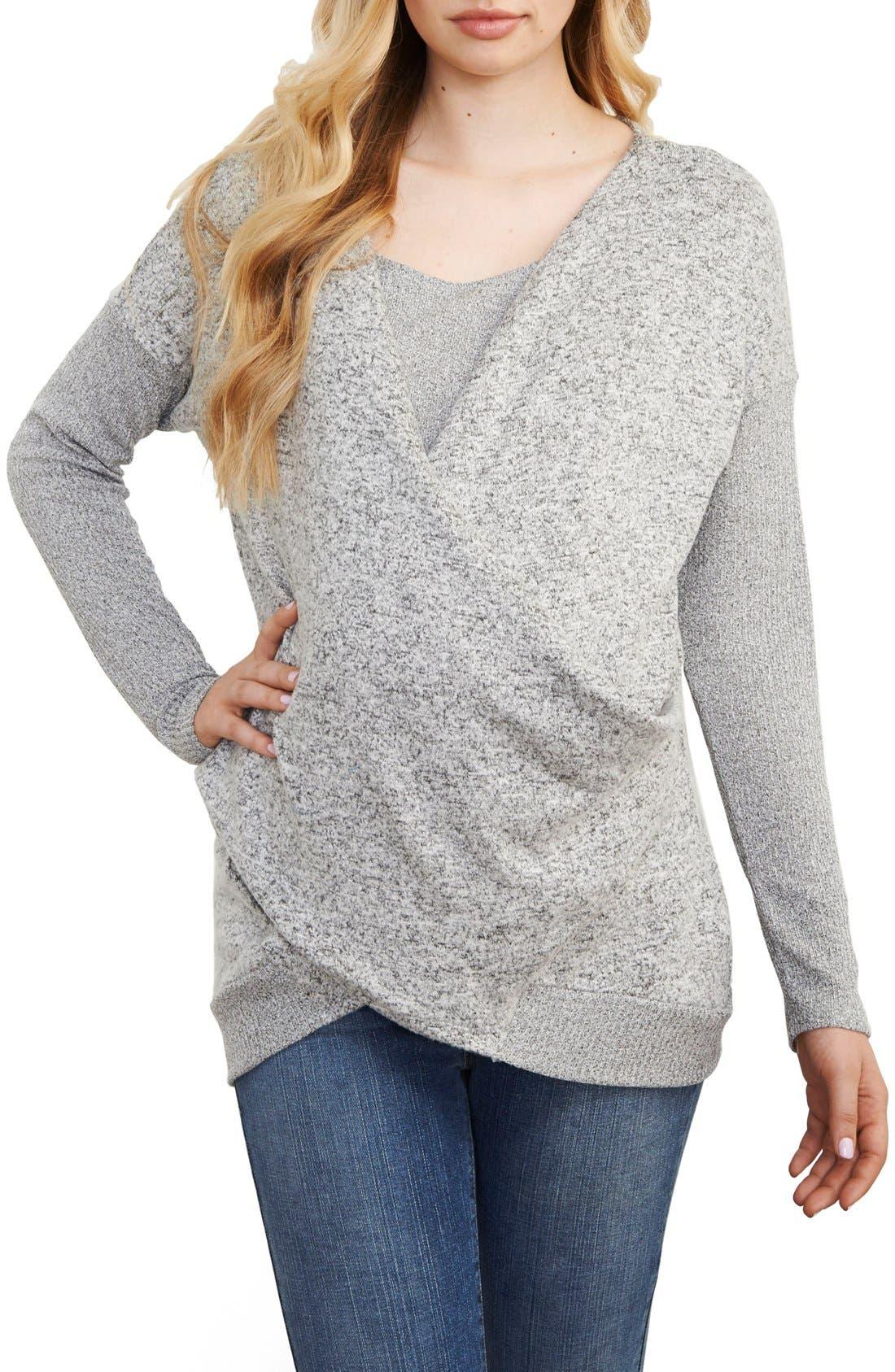 Faux Wrap Maternity/Nursing Sweater,                         Main,                         color, Grey