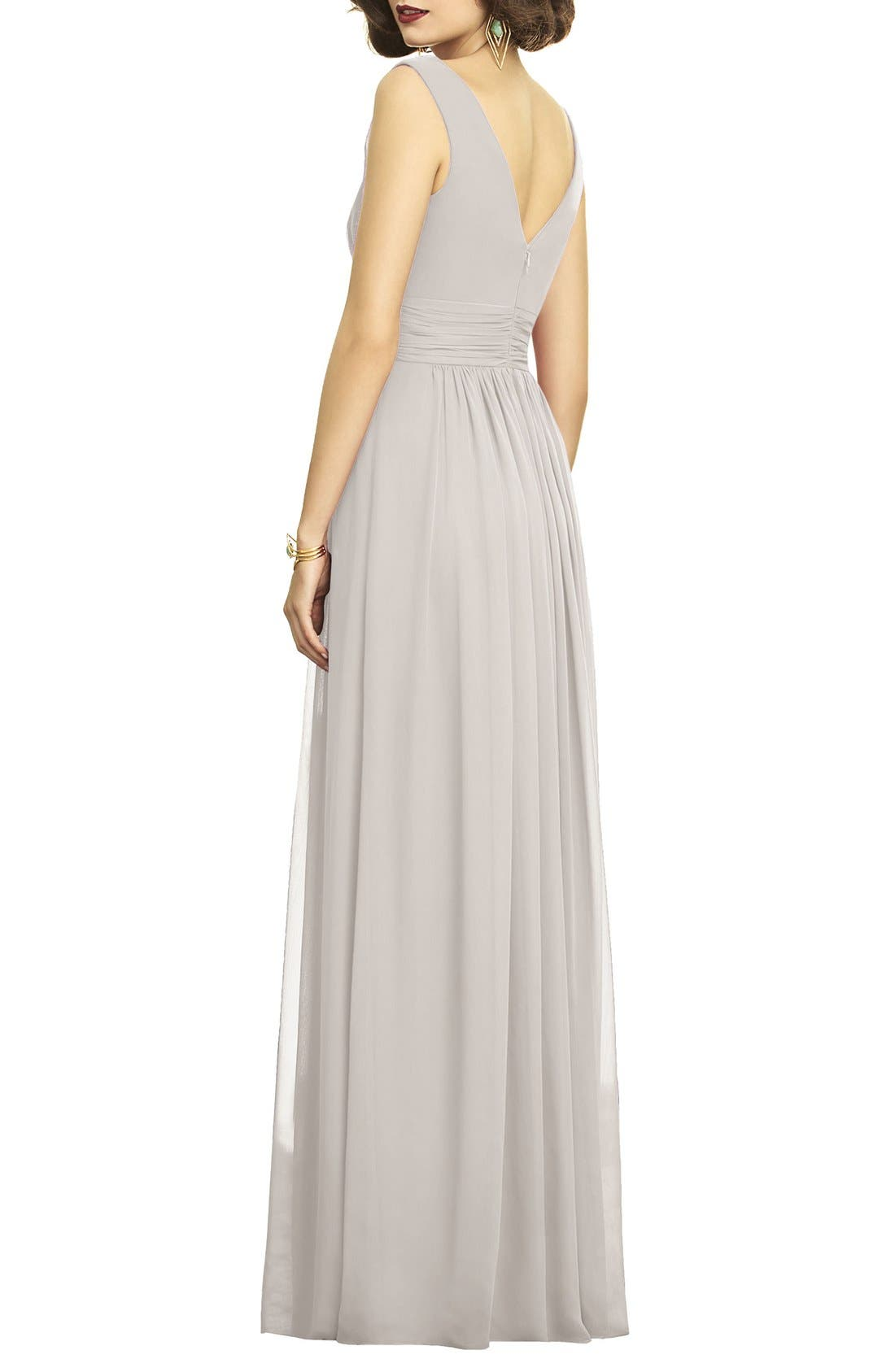 Alternate Image 2  - Dessy Collection Surplice Ruched Chiffon Gown