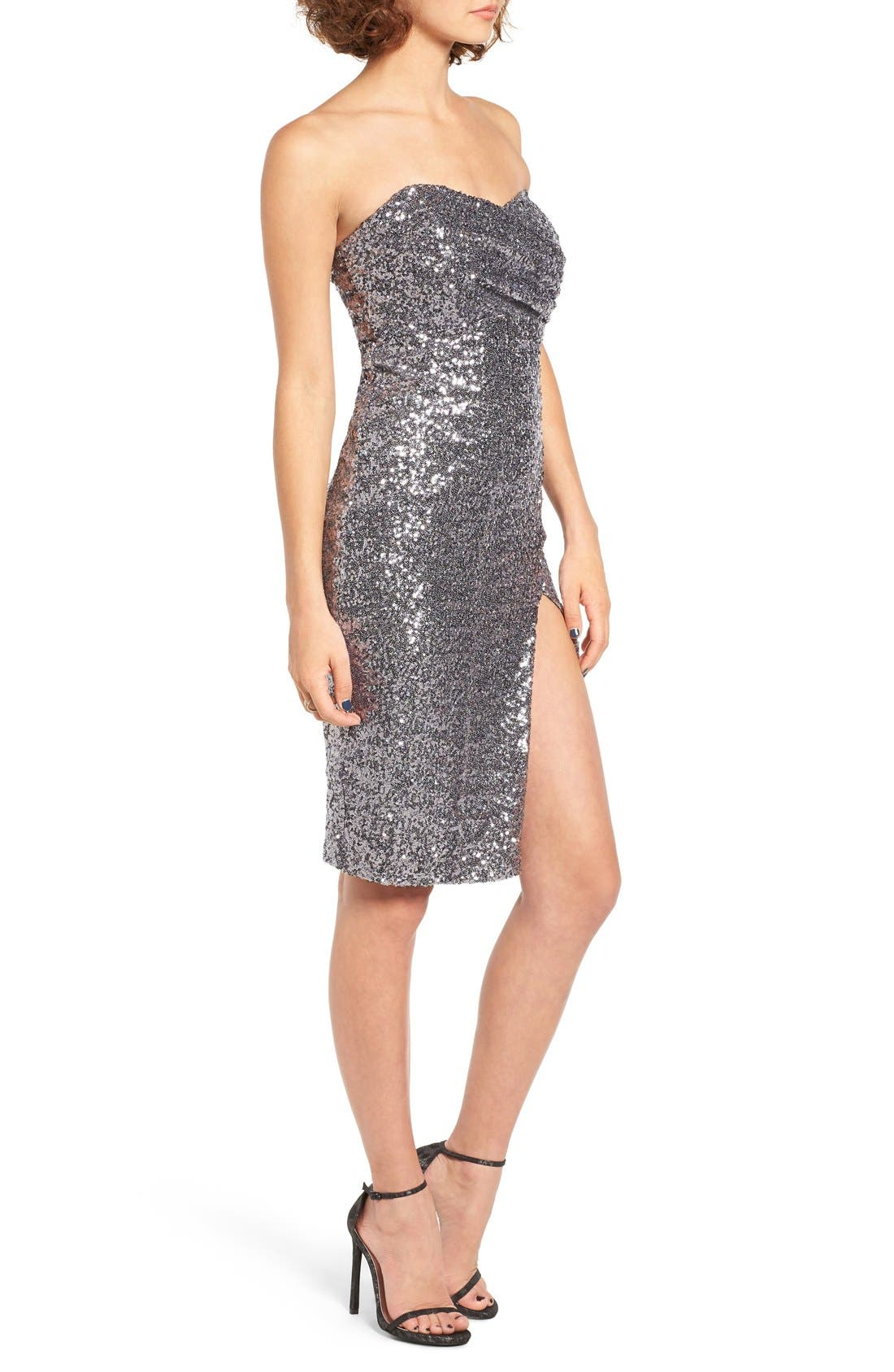 Alternate Image 3  - TFNC Cirilla Strapless Sequin Dress