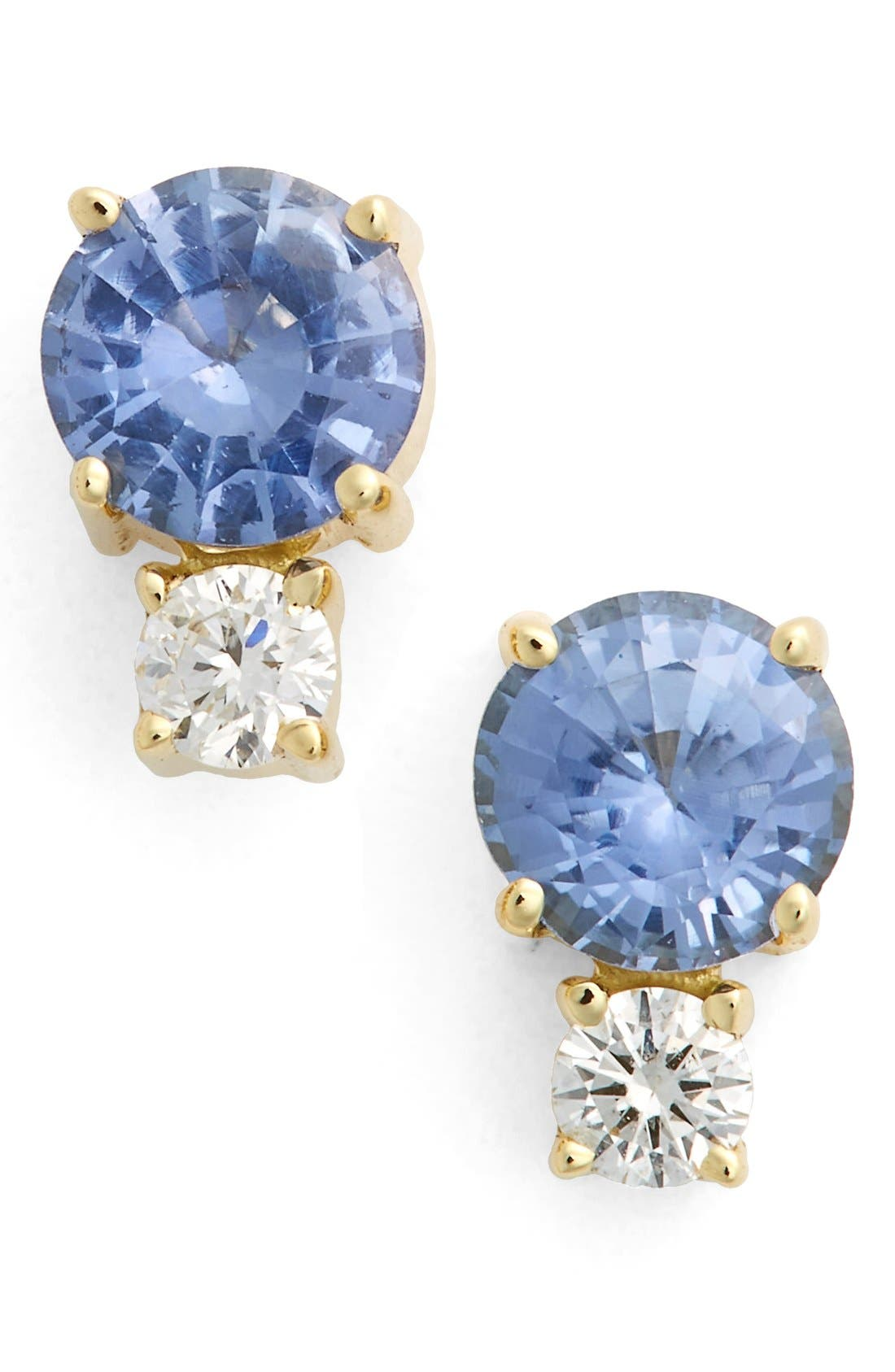 Sapphire & Diamond Stud Earrings,                         Main,                         color, Yellow Gold