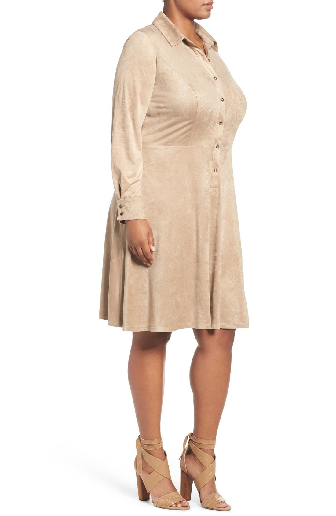 Faux Suede Shirtdress,                             Alternate thumbnail 3, color,                             Buff