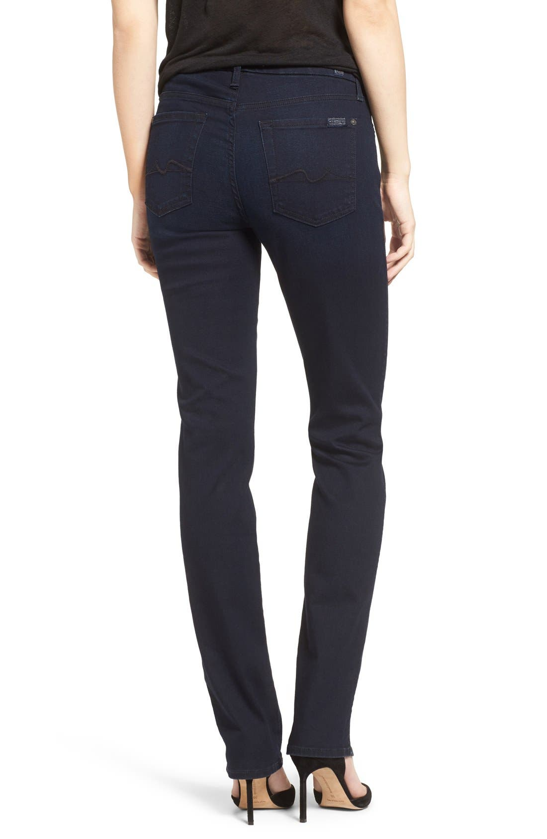 Alternate Image 2  - 7 For All Mankind® 'b(air) - Kimmie' Straight Leg Jeans (Blue Black River Thames)