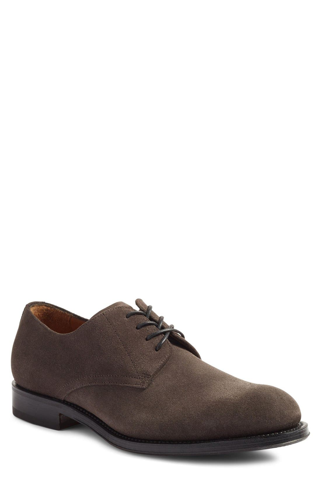 'Vance' Plain Toe Derby,                             Main thumbnail 1, color,                             Charcoal Suede