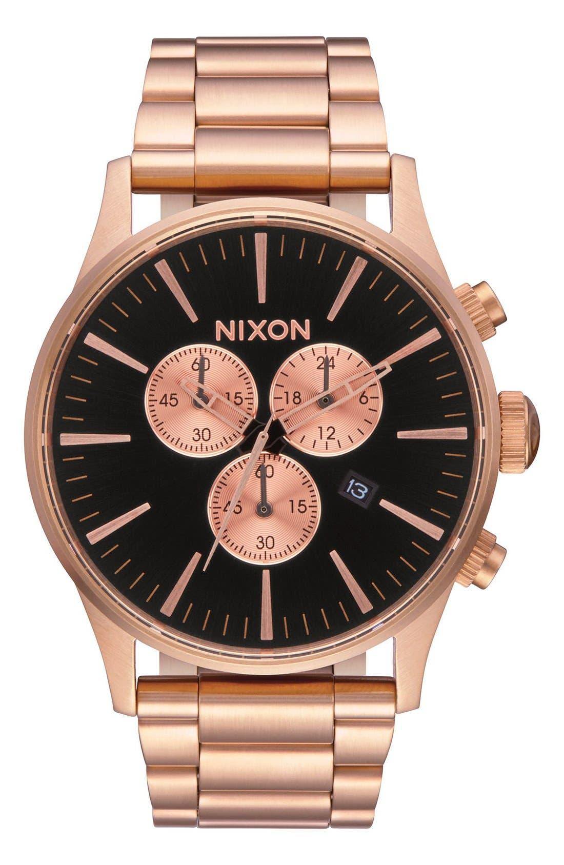 The Sentry Chronograph Bracelet Watch, 42mm,                             Main thumbnail 1, color,                             Rose Gold / Black