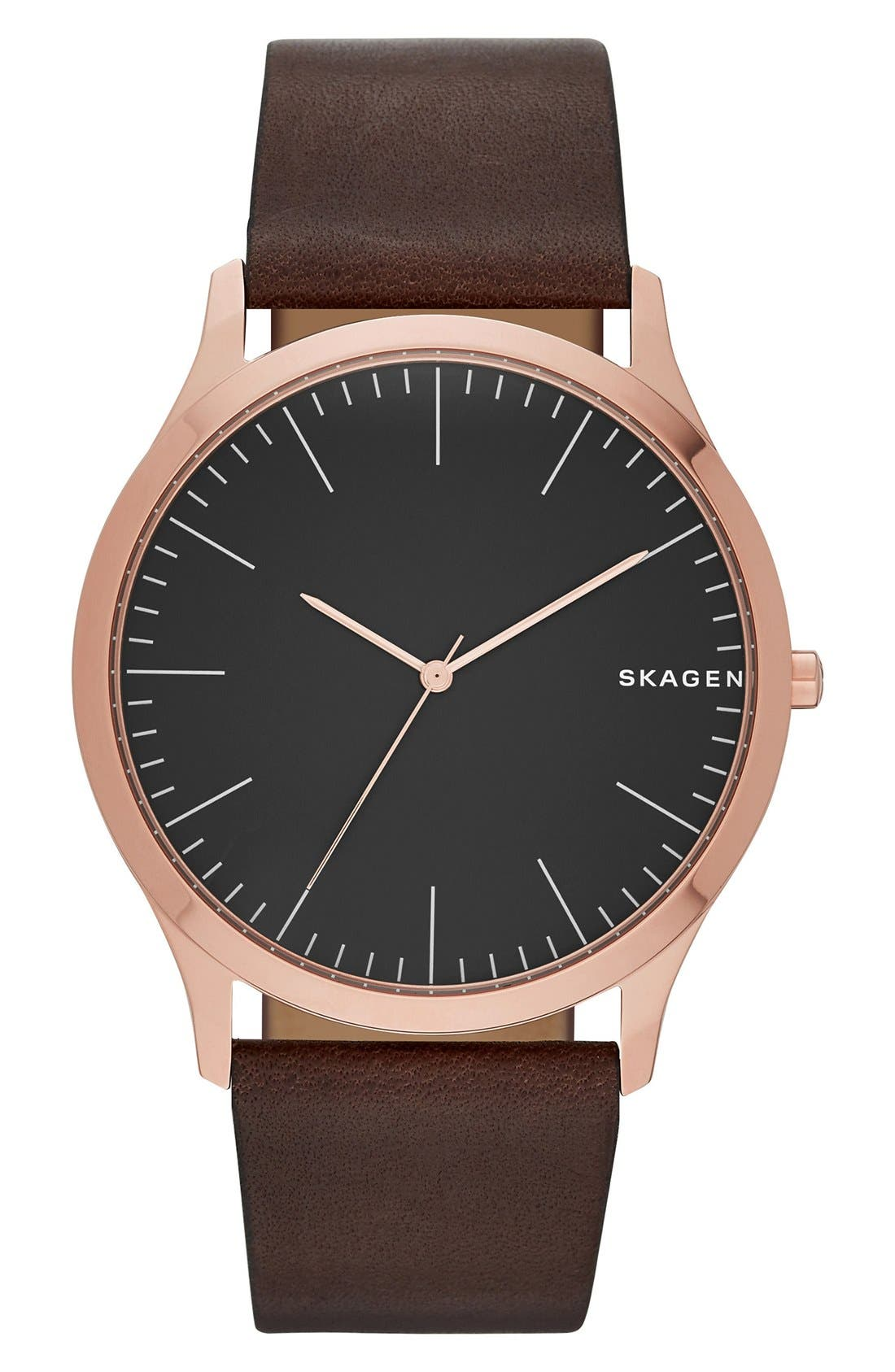 Jorn Leather Strap Watch, 41mm,                         Main,                         color, Brown/ Gold/ Black
