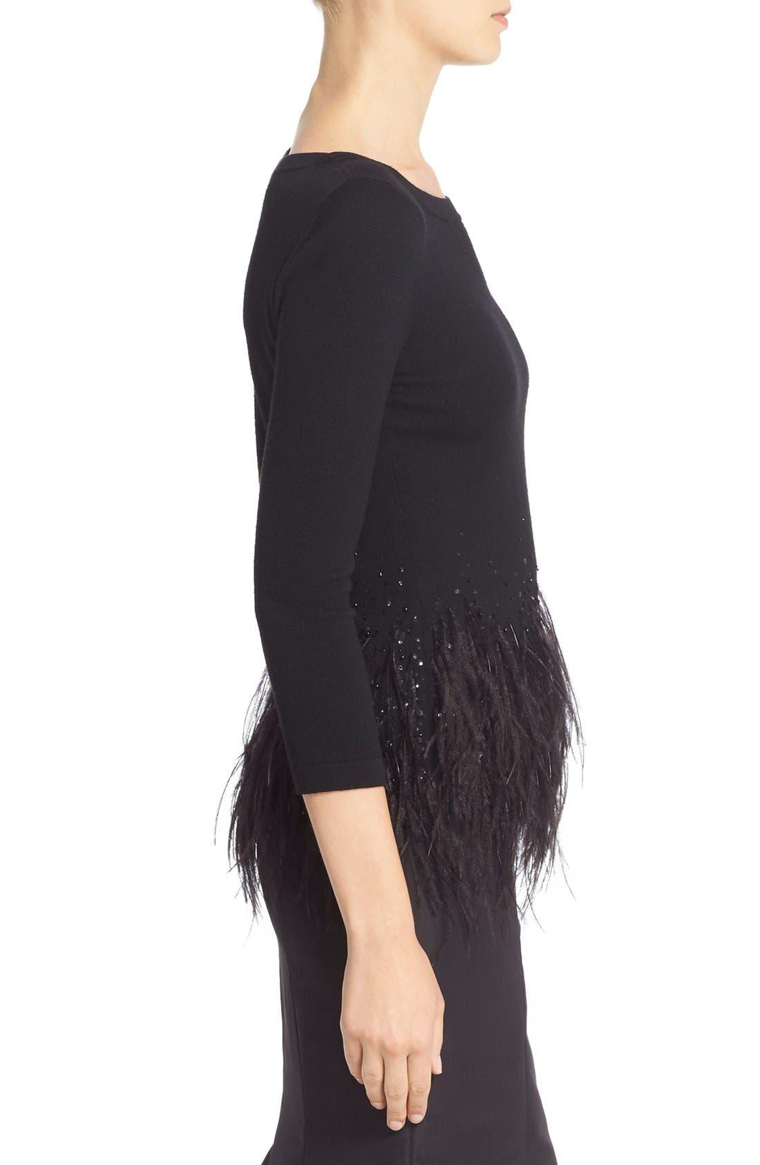 Alternate Image 4  - Carolina Herrera Sequin & Feather Trim Wool Sweater