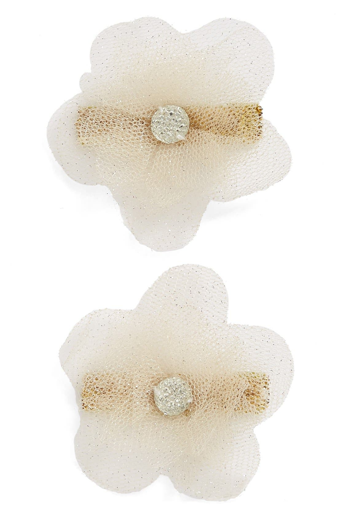 PLH BOWS & LACES Set of 2 Glitter Flower Hair Clips