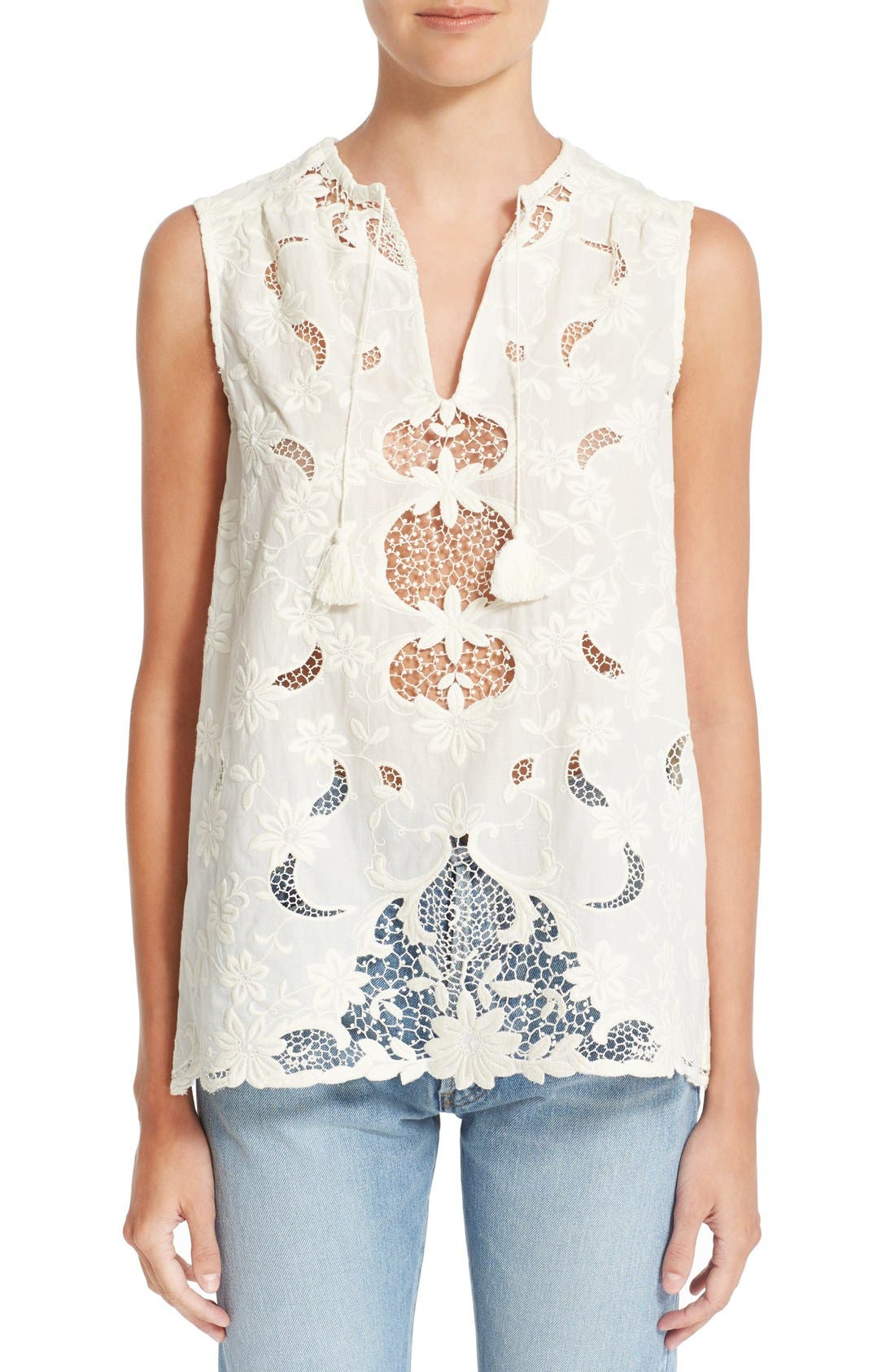 Alternate Image 1 Selected - Sea Sleeveless Embroidered Top