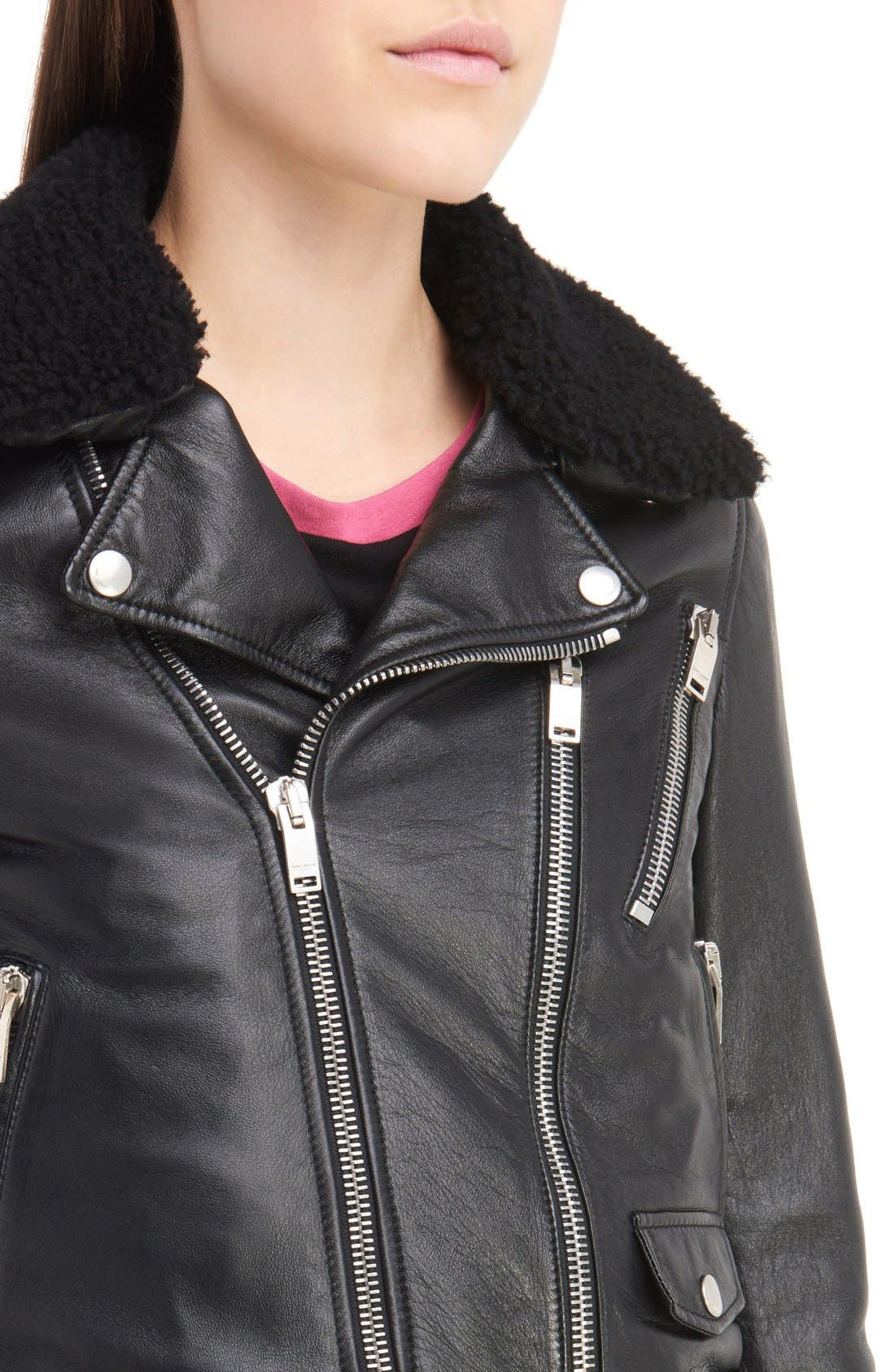 Alternate Image 6  - Saint Laurent Leather Moto Jacket with Removable Genuine Shearling Collar