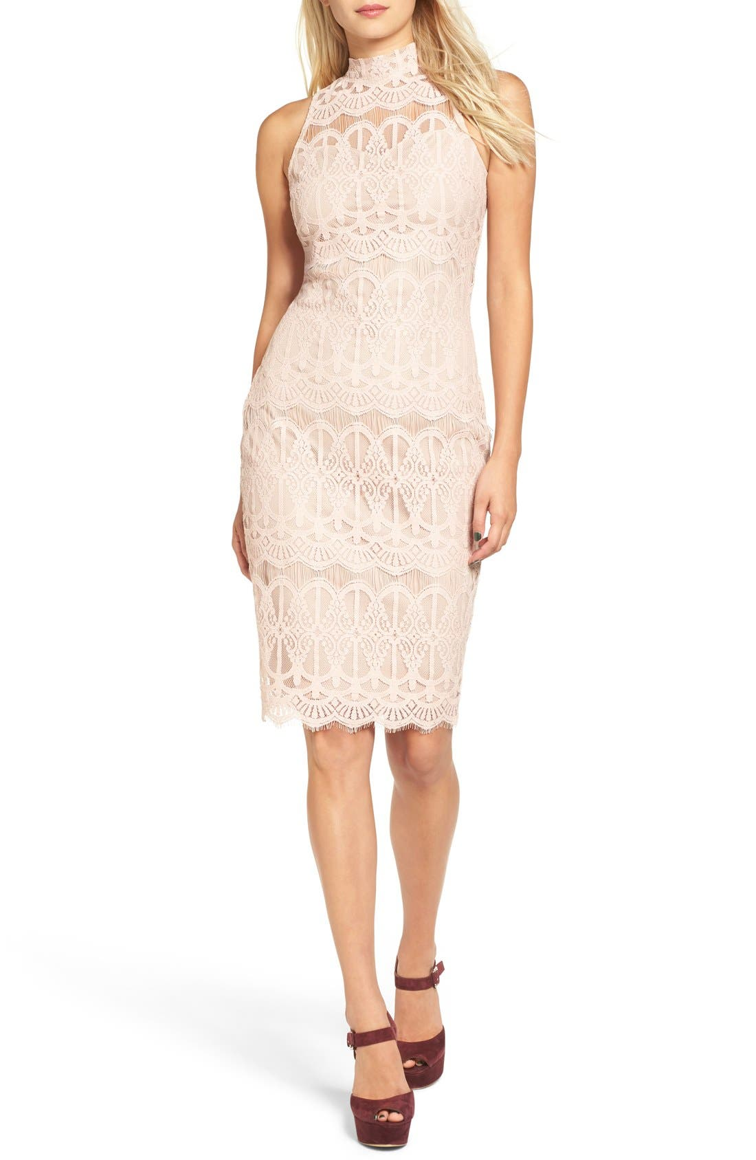 Main Image - Fire Mock Neck Lace Sheath Dress