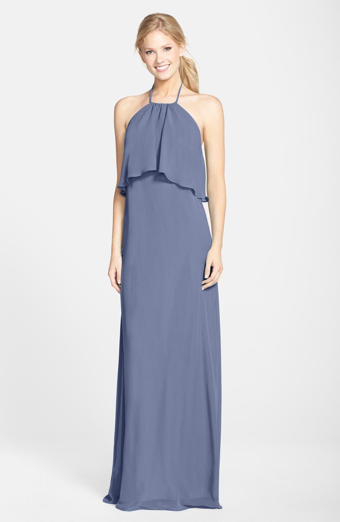 Alternate Image 1 Selected - nouvelle AMSALE 'Cait' Chiffon Halter Gown