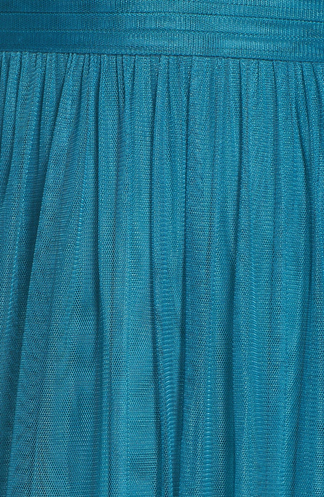 Deep V-Neck Chiffon & Tulle Gown,                             Alternate thumbnail 5, color,                             Teal