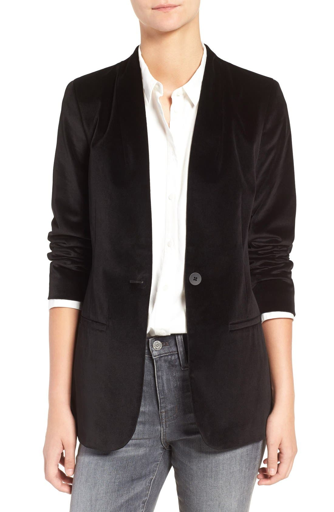 Lauren Velvet Blazer,                             Main thumbnail 1, color,                             True Black