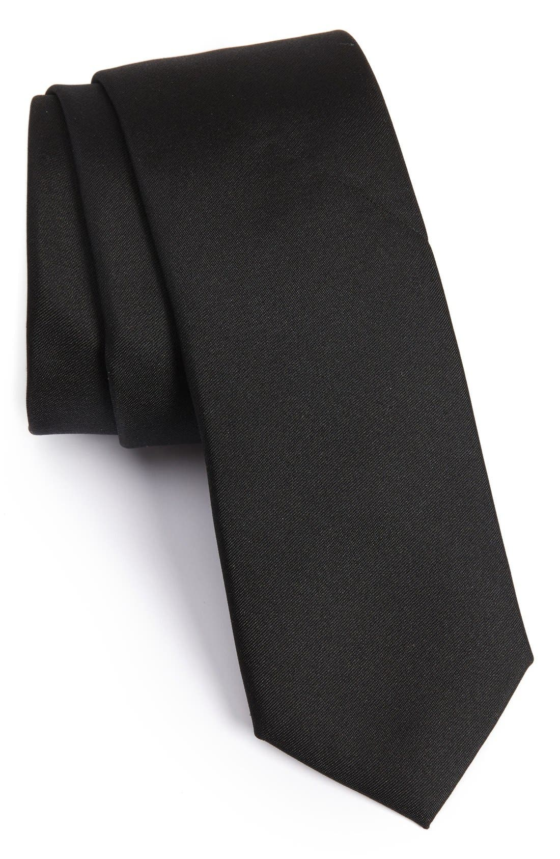 Veloutine Woven Silk Skinny Tie,                             Main thumbnail 1, color,                             Black