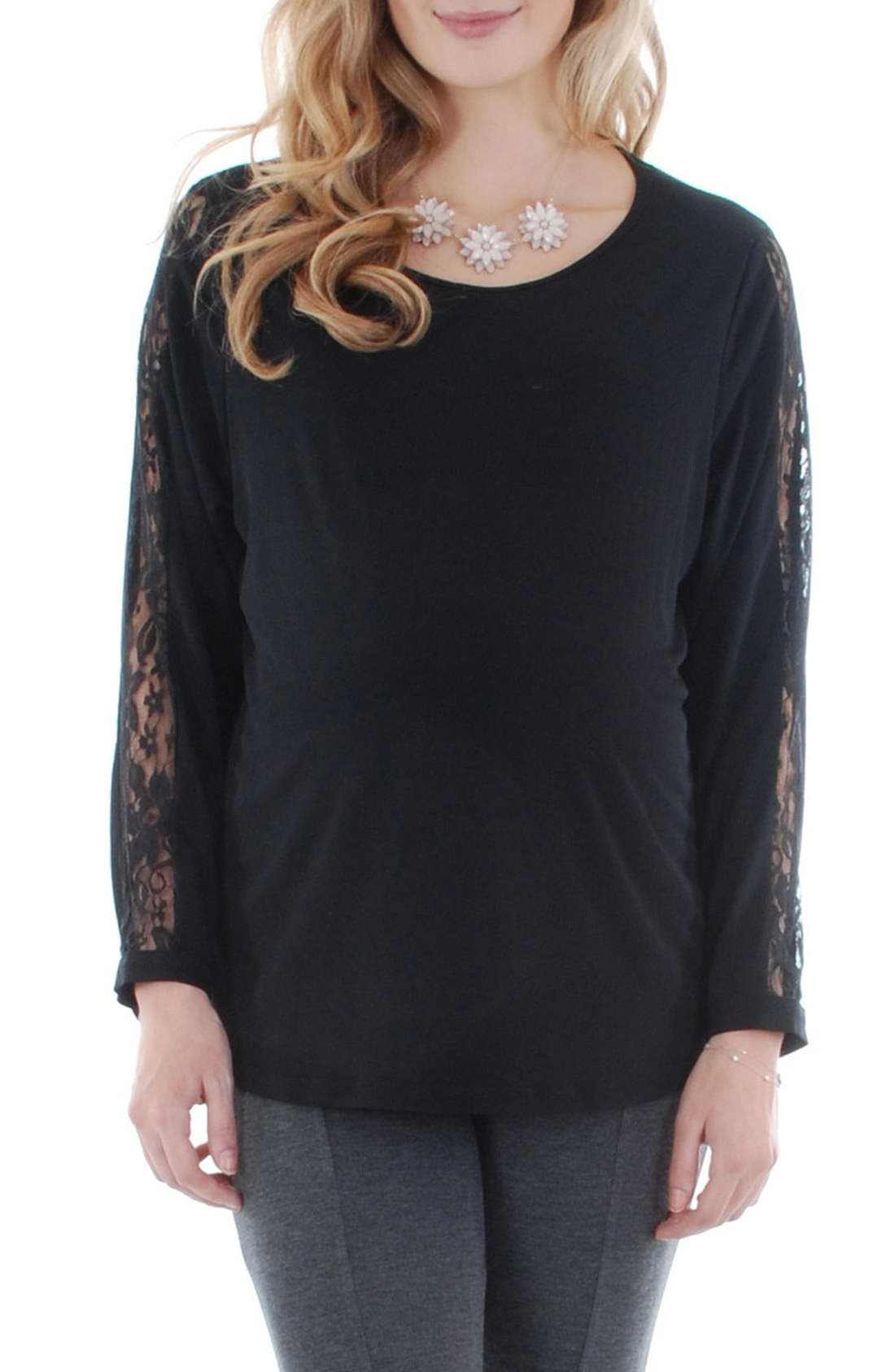 Everly Grey Kira Lace Sleeve Maternity Top