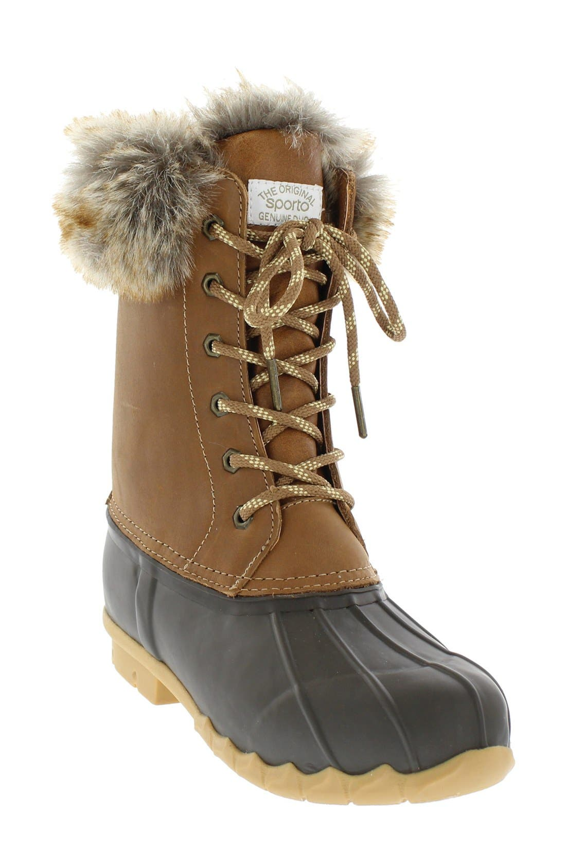 Agnus Faux Fur Lined Duck Boot,                             Main thumbnail 1, color,                             Tan