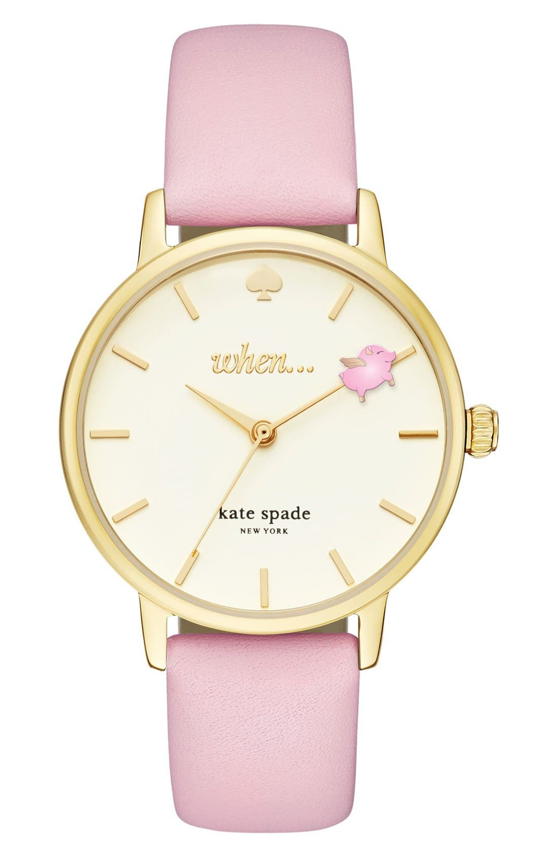 KATE SPADE NEW YORK metro round leather strap watch, 34mm