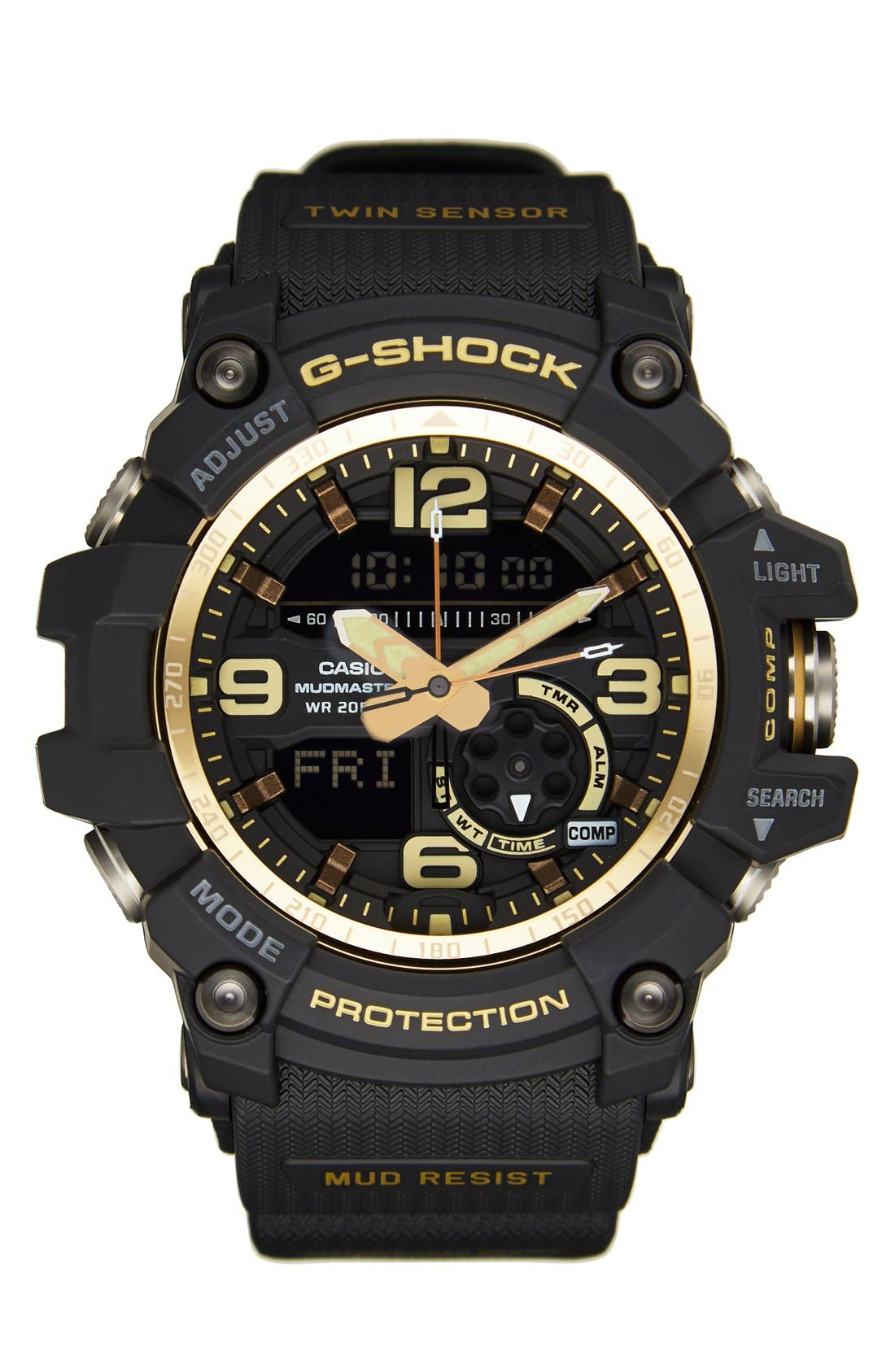 G-Shock AD Mudmaster Strap Watch, 50mm,                         Main,                         color, Black/ Black/ Gold
