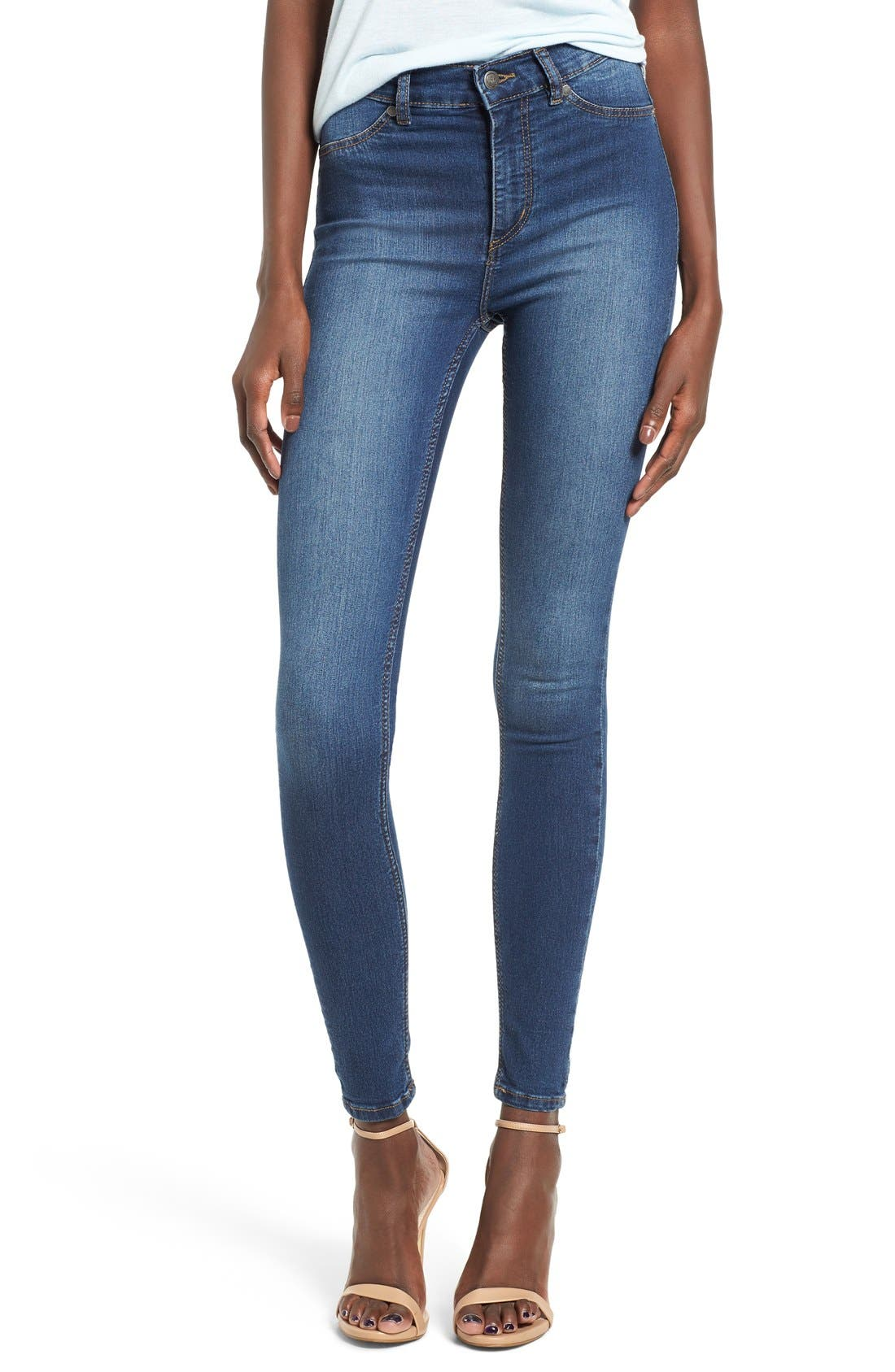 Main Image - Cheap Monday High Rise Skinny Jeans (Dim Blue)