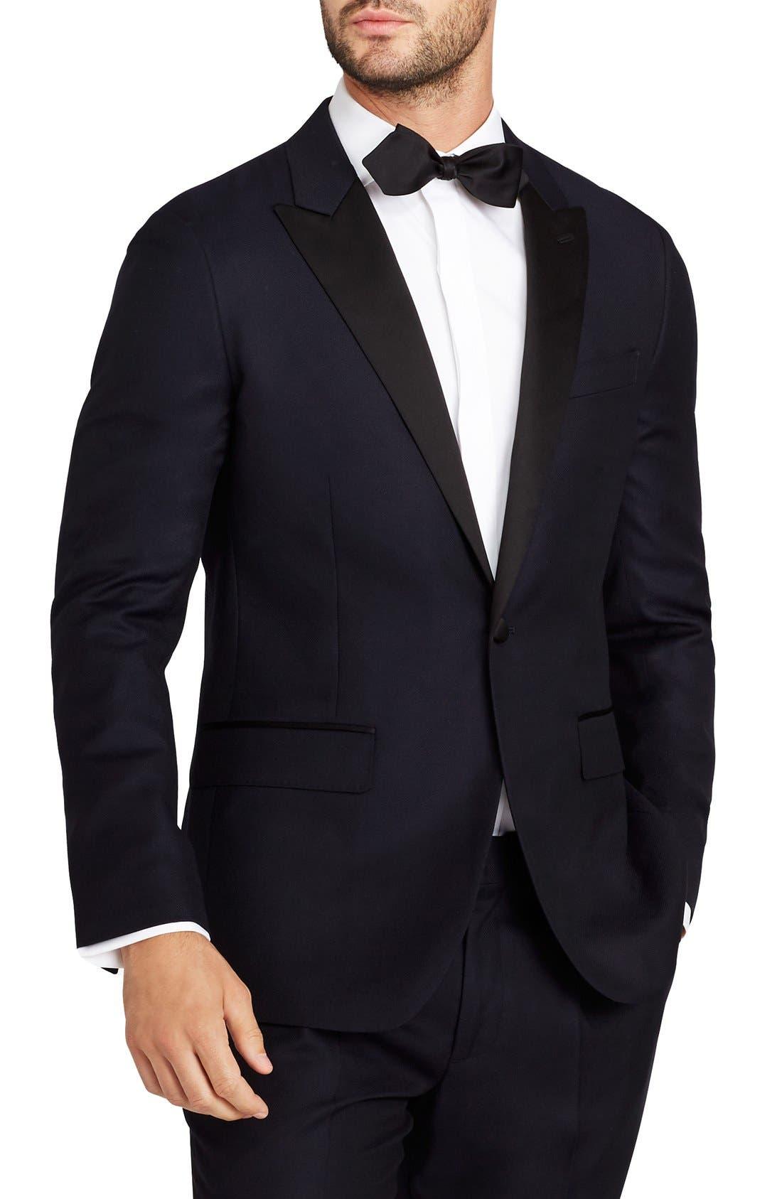Trim Fit Wool Dinner Jacket,                         Main,                         color, Navy Hopsack