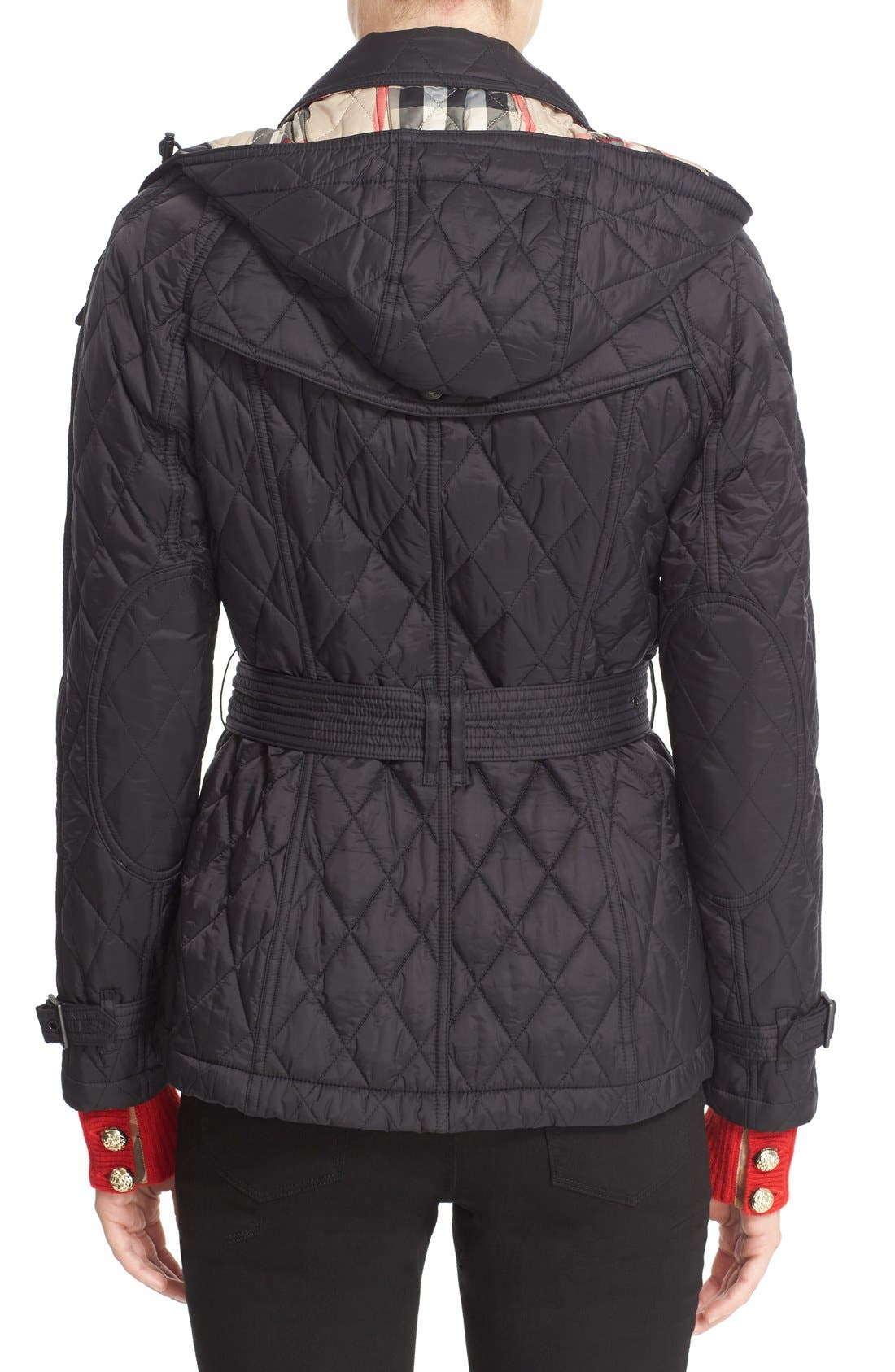Finsbridge Short Quilted Jacket,                             Alternate thumbnail 2, color,                             Black