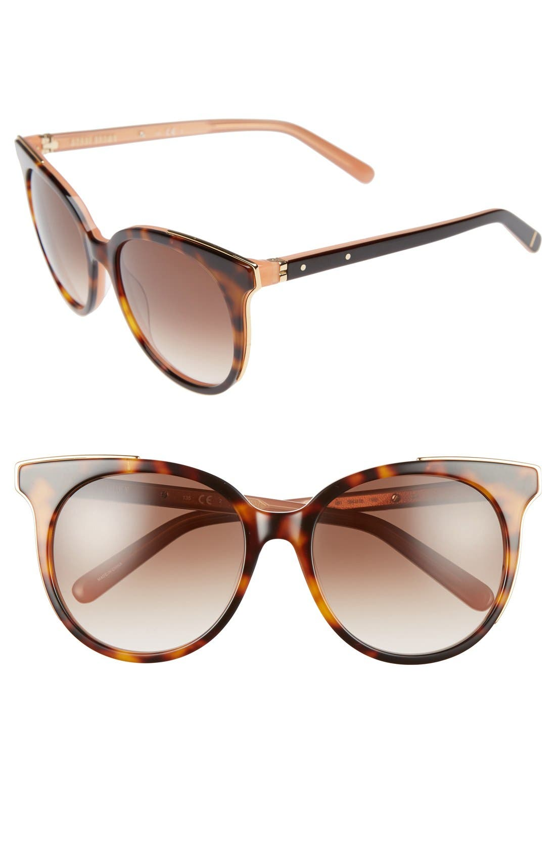 'The Lucy' 54mm Sunglasses,                             Main thumbnail 1, color,                             Havana/ Pink