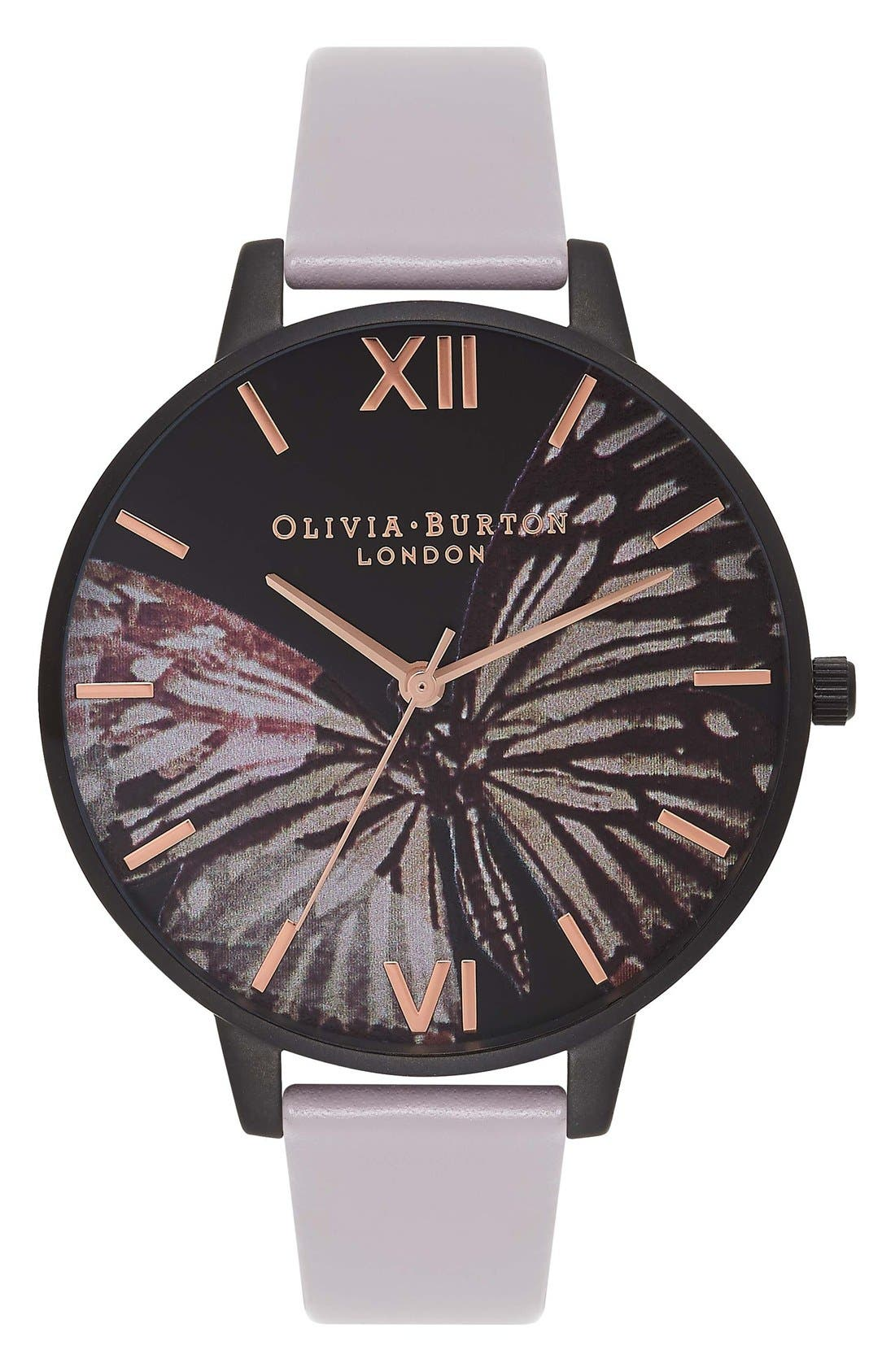 Main Image - Olivia Burton After Dark Butterfly Leather Strap Watch, 38mm