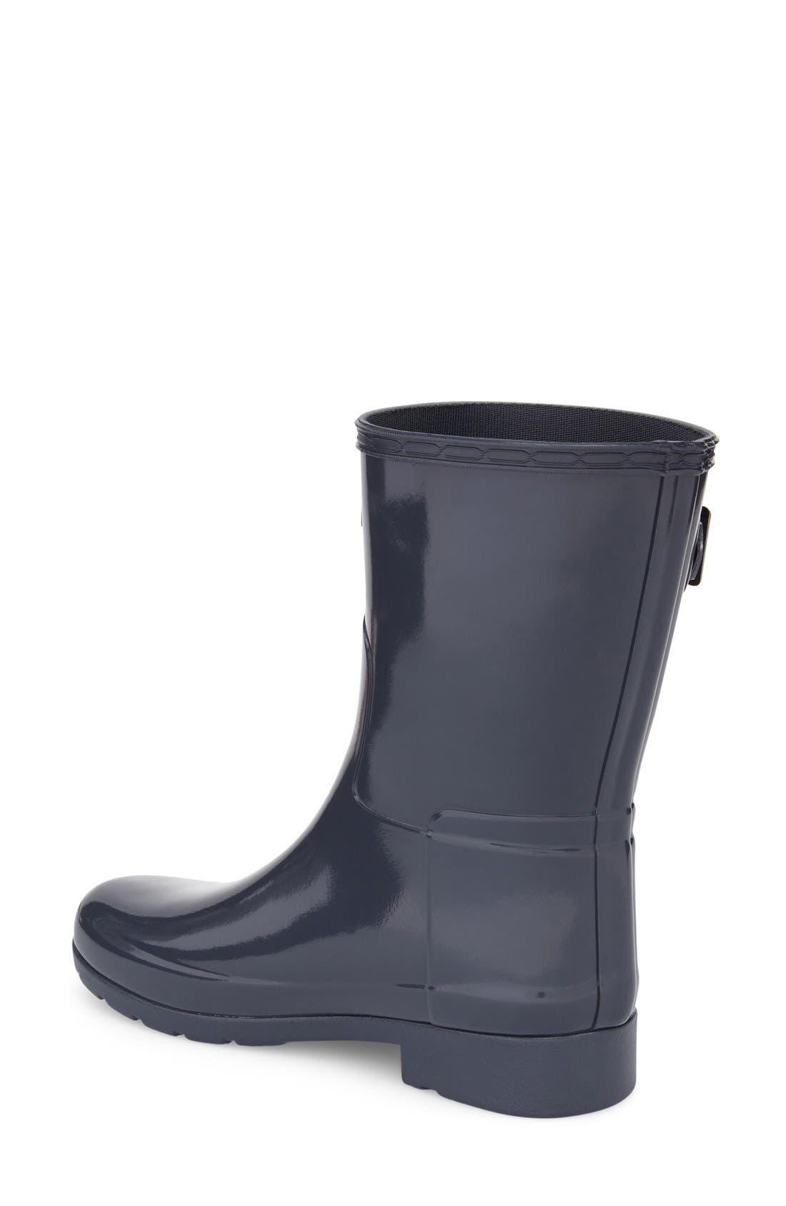 'Refined Short' Gloss Rain Boot,                             Alternate thumbnail 2, color,                             Dark Slate
