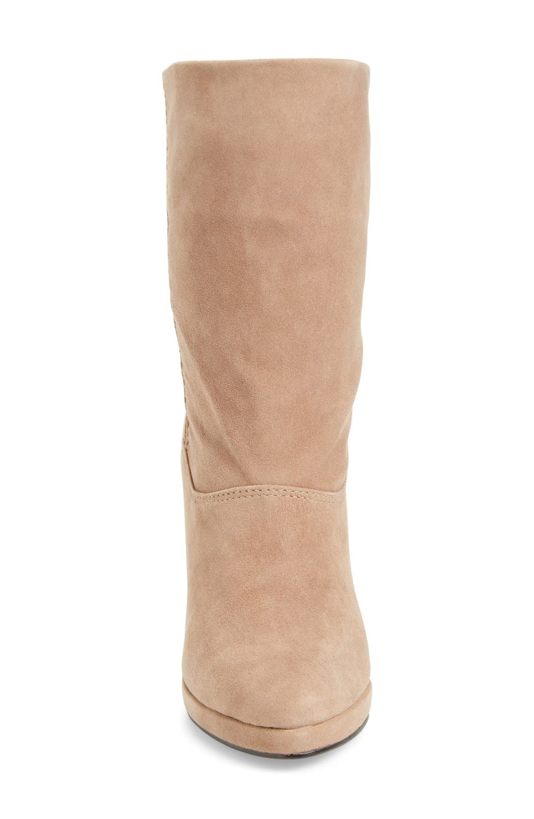 M4D3 Melanie Wedge Boot,                             Alternate thumbnail 3, color,                             Taupe Leather