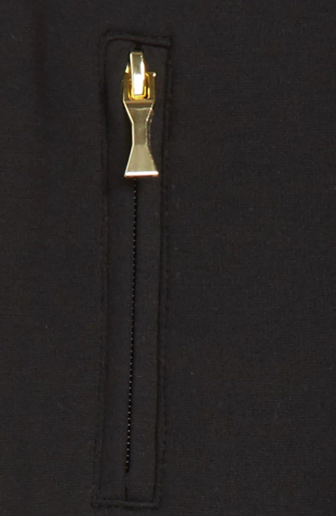 zip leggings,                             Alternate thumbnail 2, color,                             Black