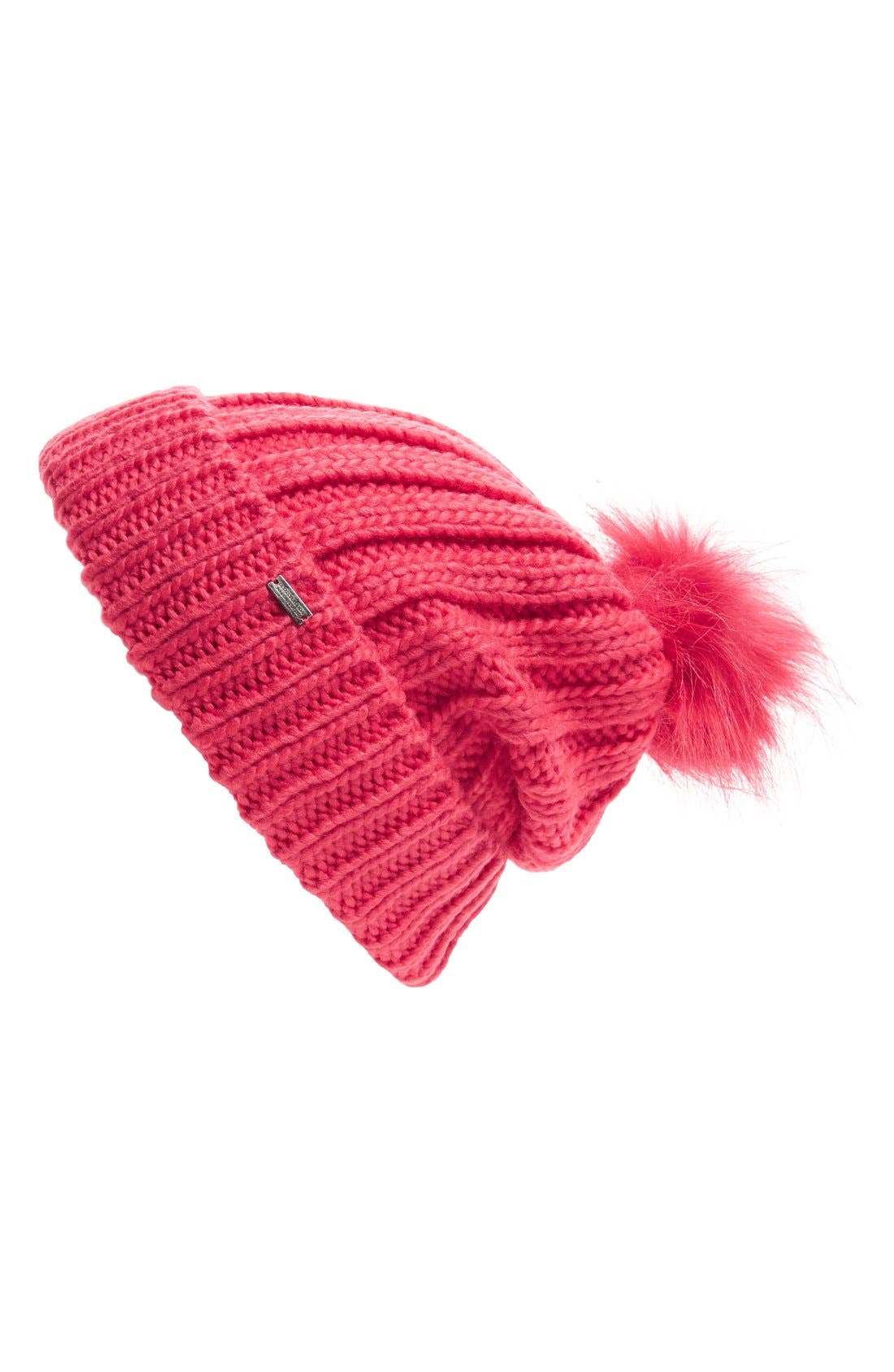 Faux Fur Pom Beanie,                             Main thumbnail 1, color,                             Winter Berry