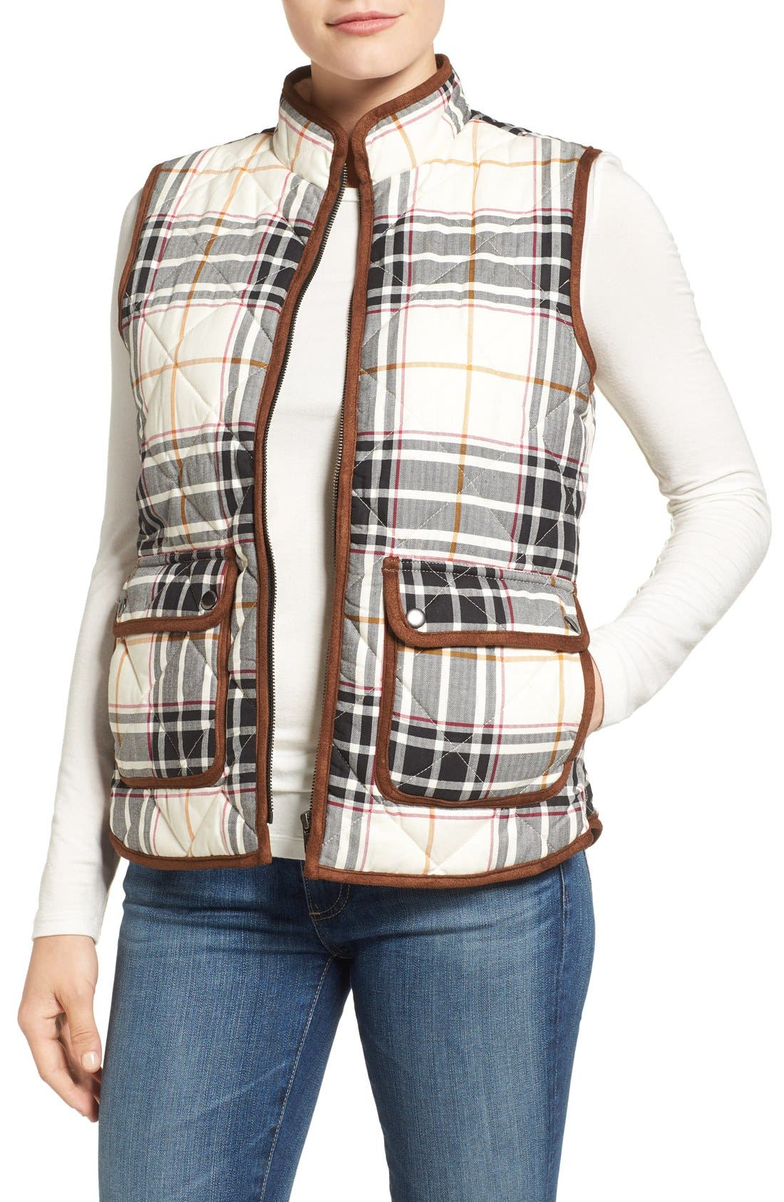 Alternate Image 1 Selected - Foxcroft Plaid Quilt Vest