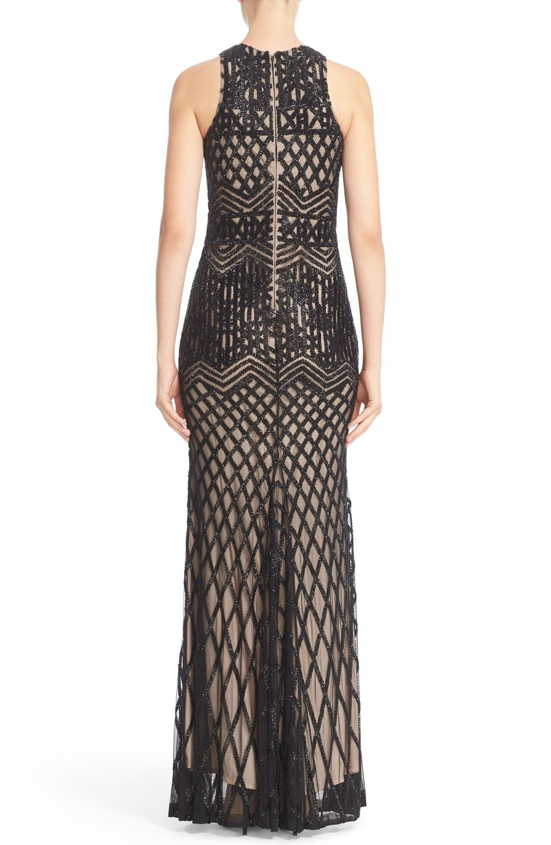 Beaded High Neck Mermaid Gown,                             Alternate thumbnail 2, color,                             Black