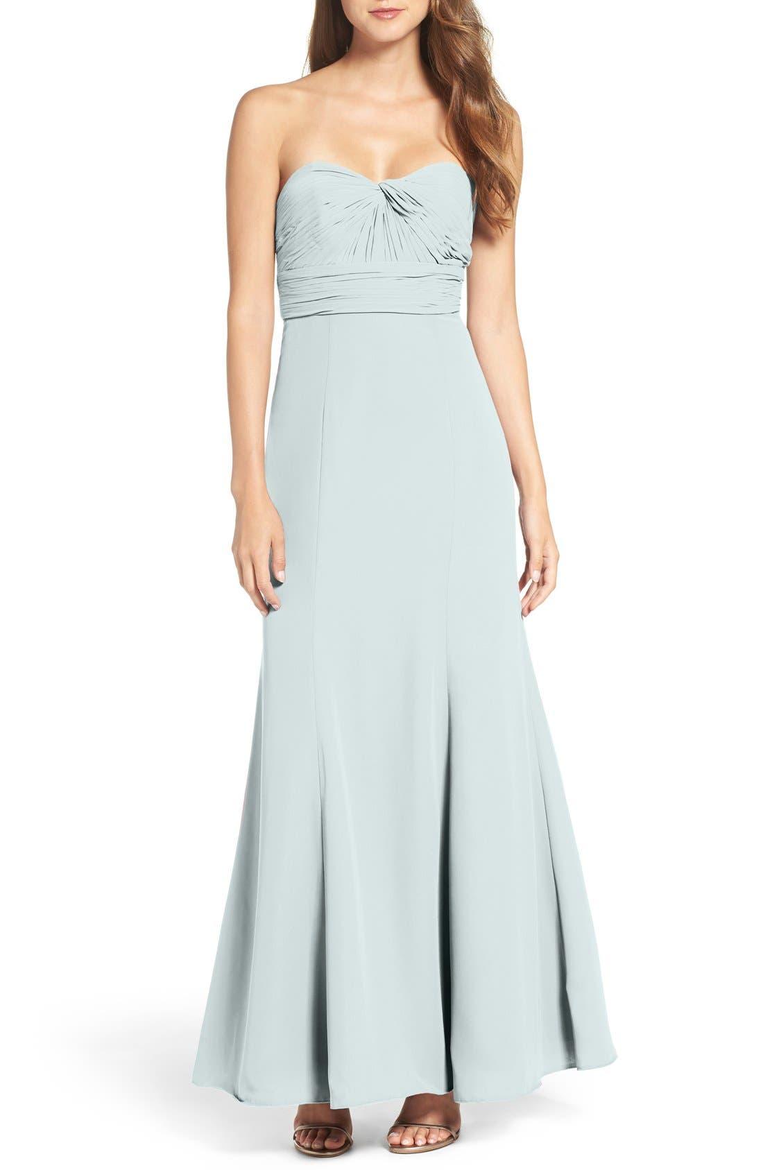 Strapless Chiffon Gown,                             Main thumbnail 1, color,                             Light Blue