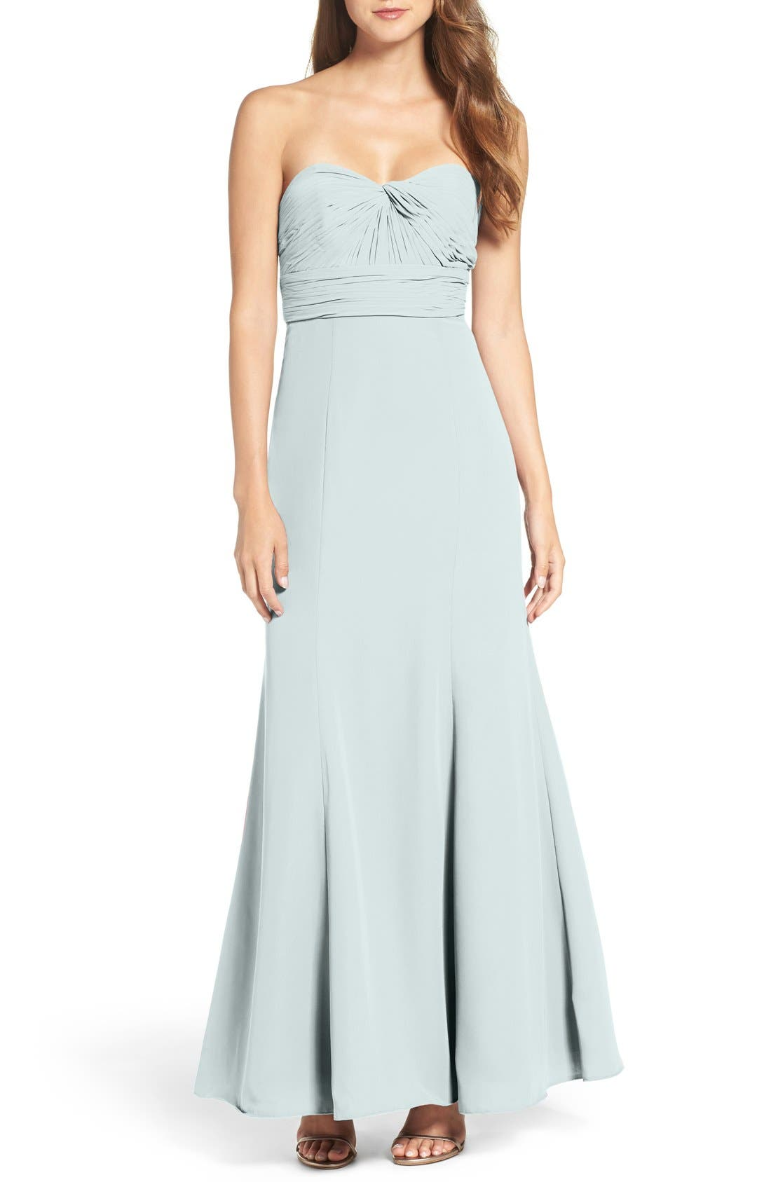 Strapless Chiffon Gown,                         Main,                         color, Light Blue