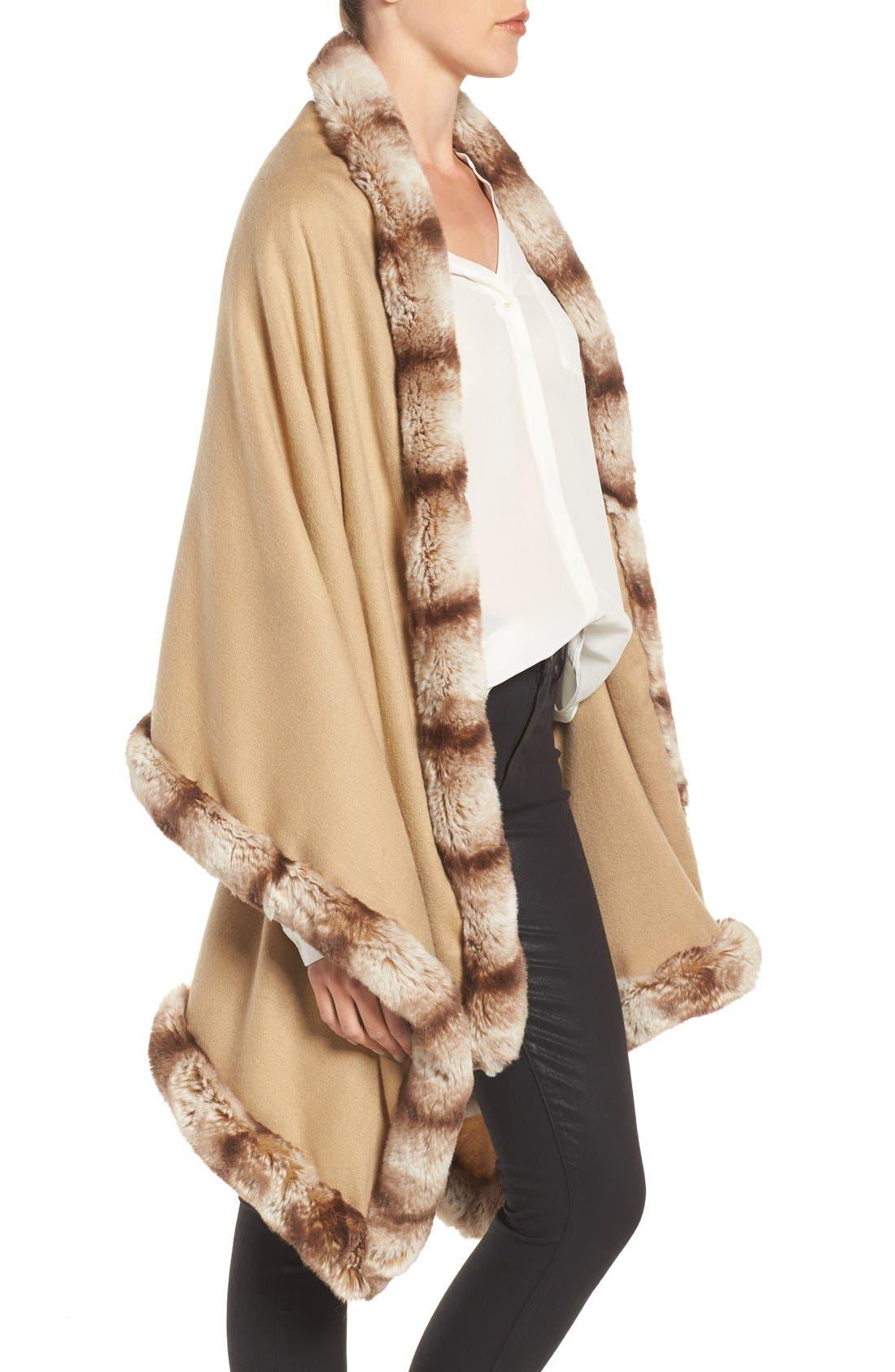 Alternate Image 3  - Badgley Mischka Faux Fur Trim Wrap