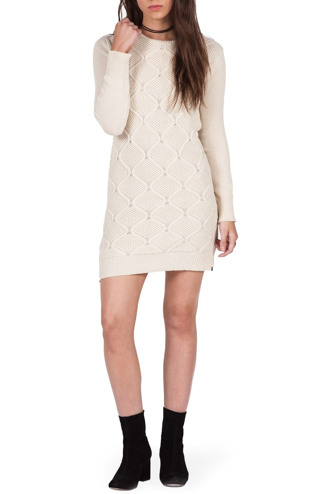 Main Image - Volcom Chained Down Cable Sweater Dress