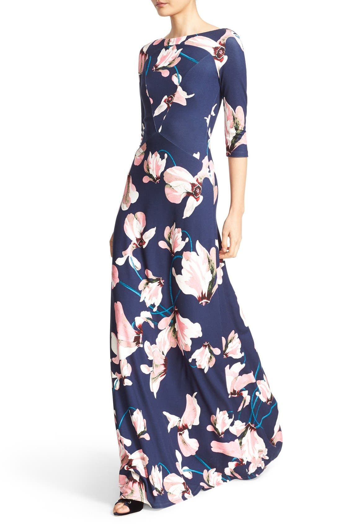 Valentina Floral Print Jersey Gown,                             Alternate thumbnail 5, color,                             Navy/ Pink