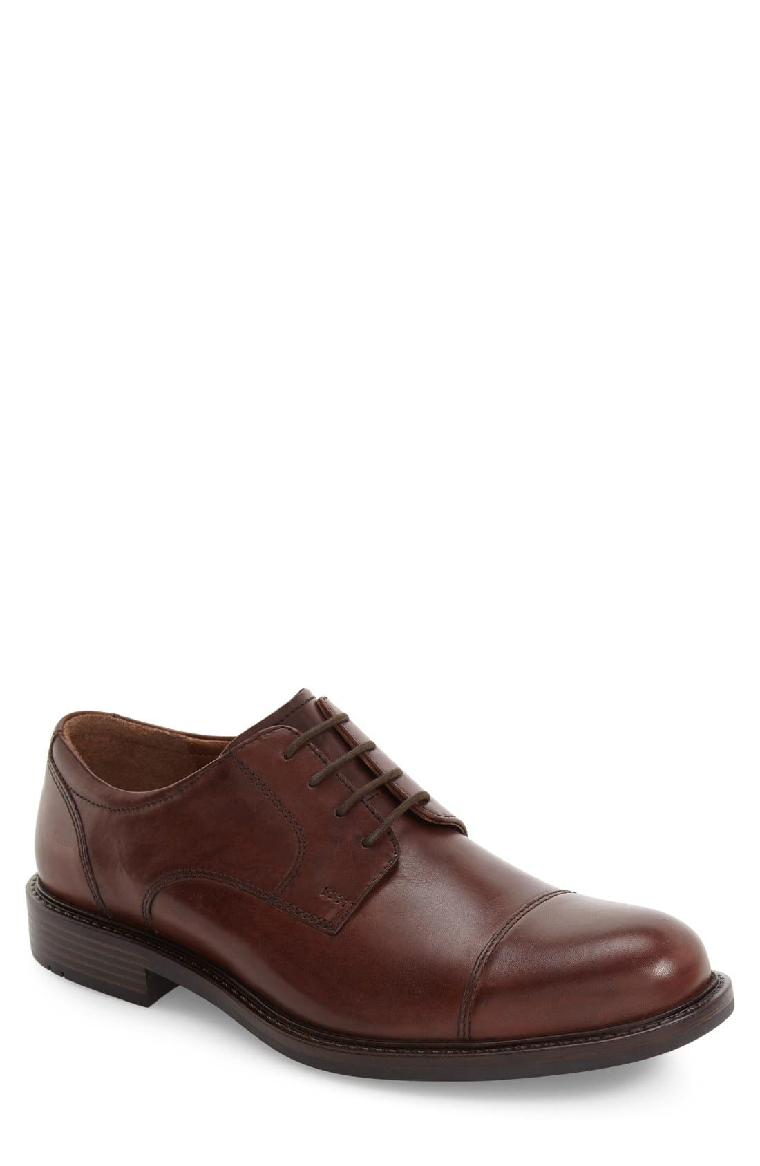 Tabor Cap Toe Derby,                         Main,                         color, Brown Leather
