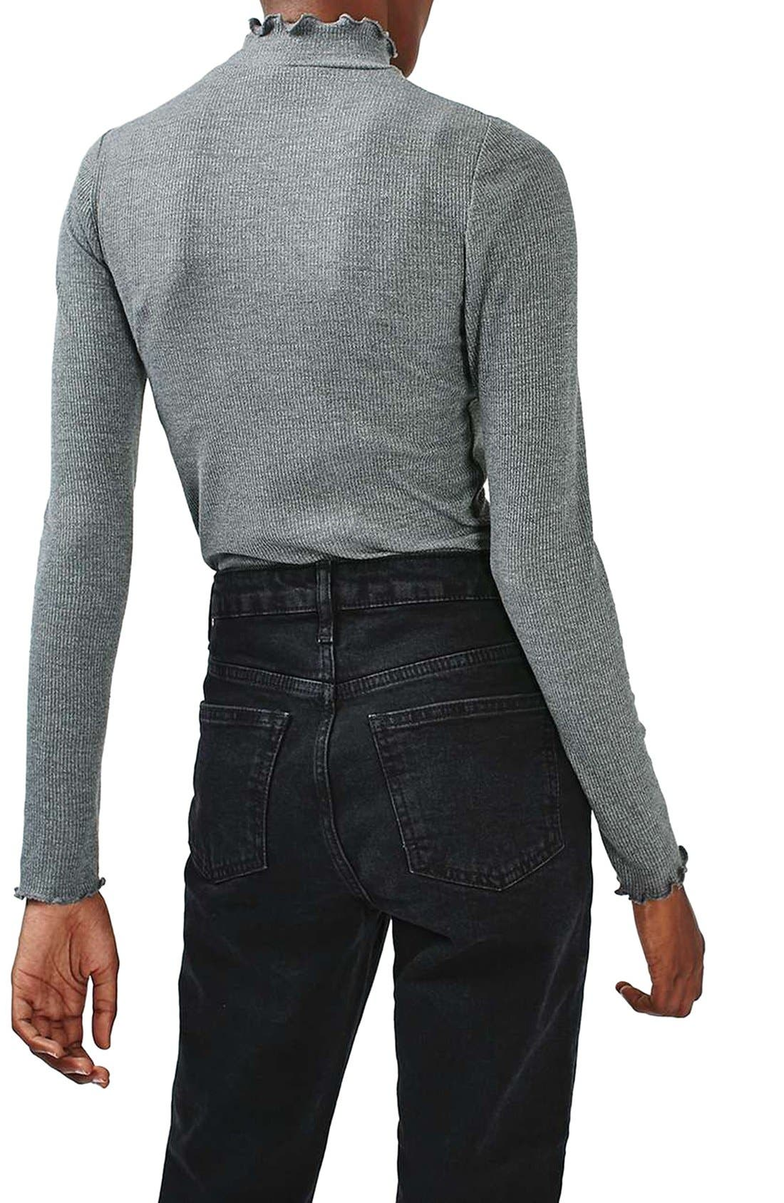 Alternate Image 3  - Topshop Lettuce Edge Turtleneck